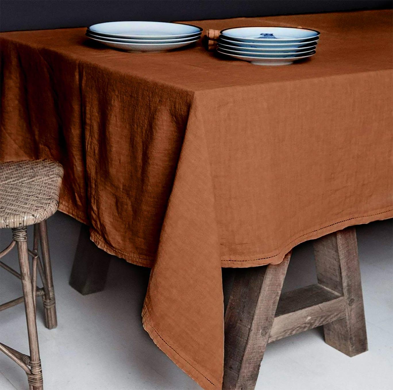 Nappe  Lin pur lavé  Orange foncé 180x300
