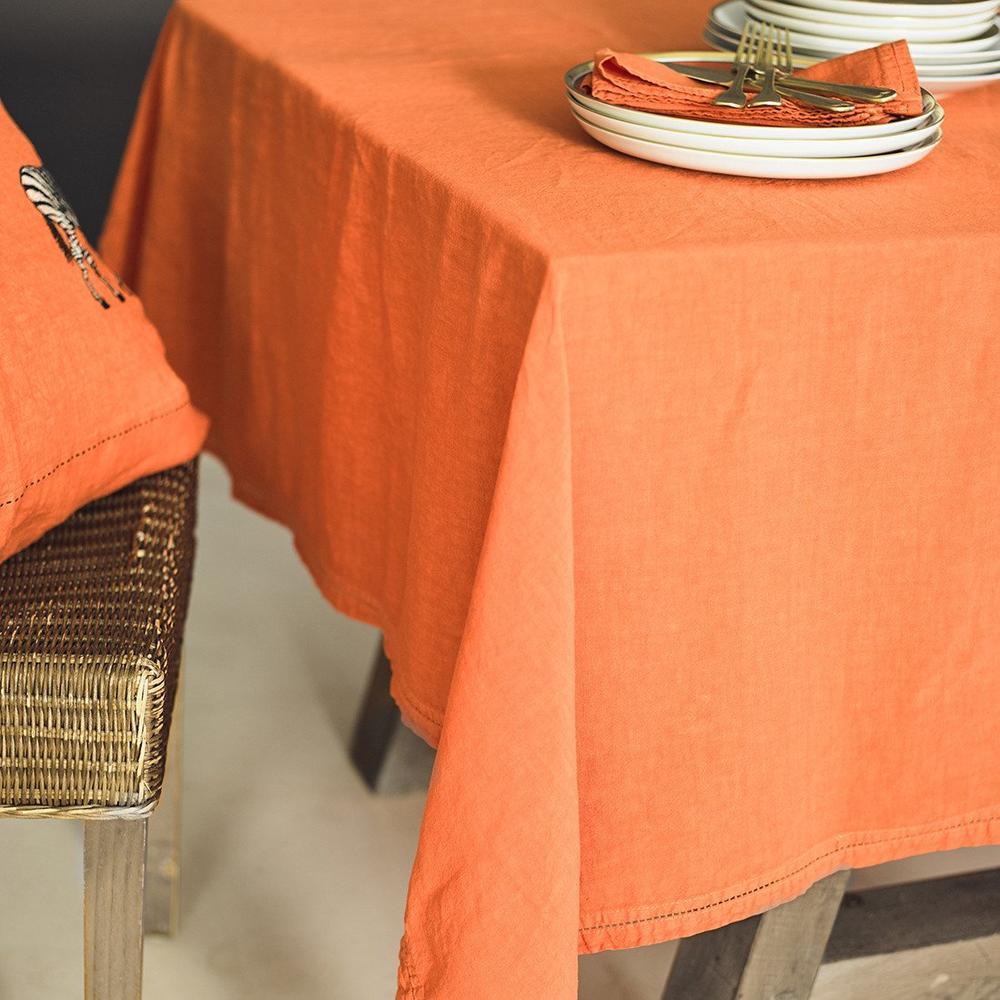 Nappe  Lin pur lavé Orange 180x300