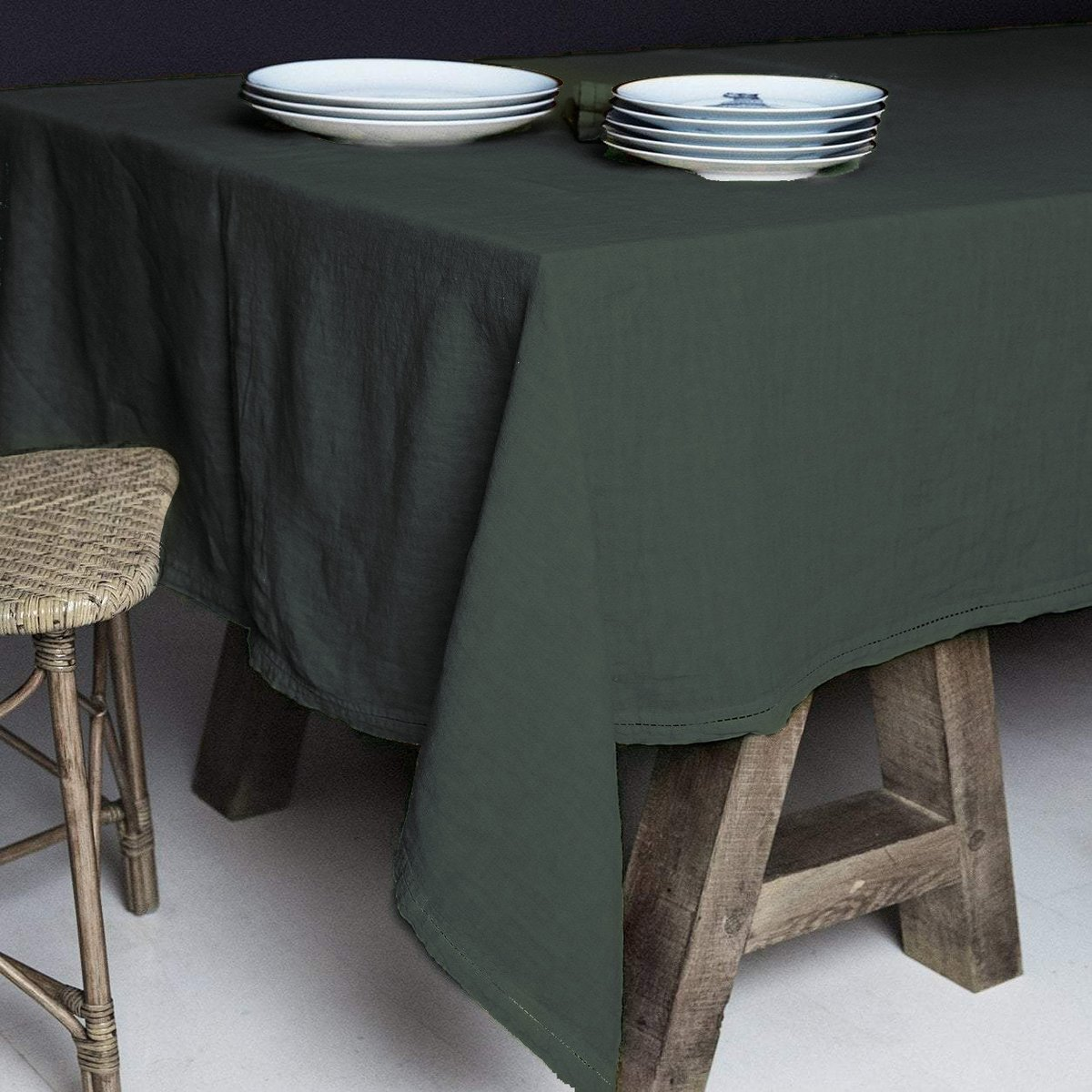 Nappe  Lin pur lavé Vert anglais 160x250