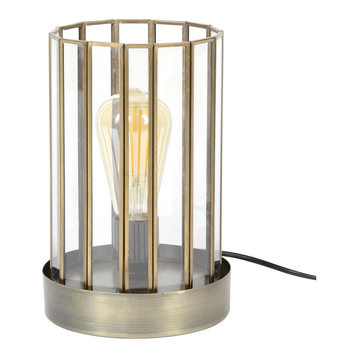 Lampe à poser vintage en métal et verre D17