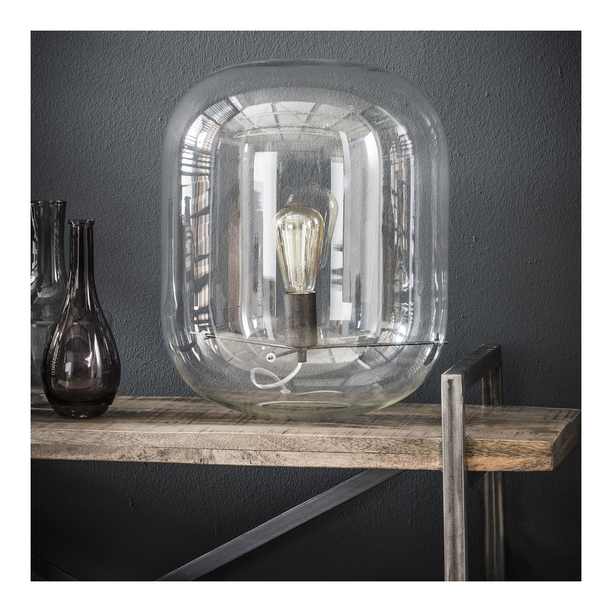 Lampe de table moderne en verre transparent