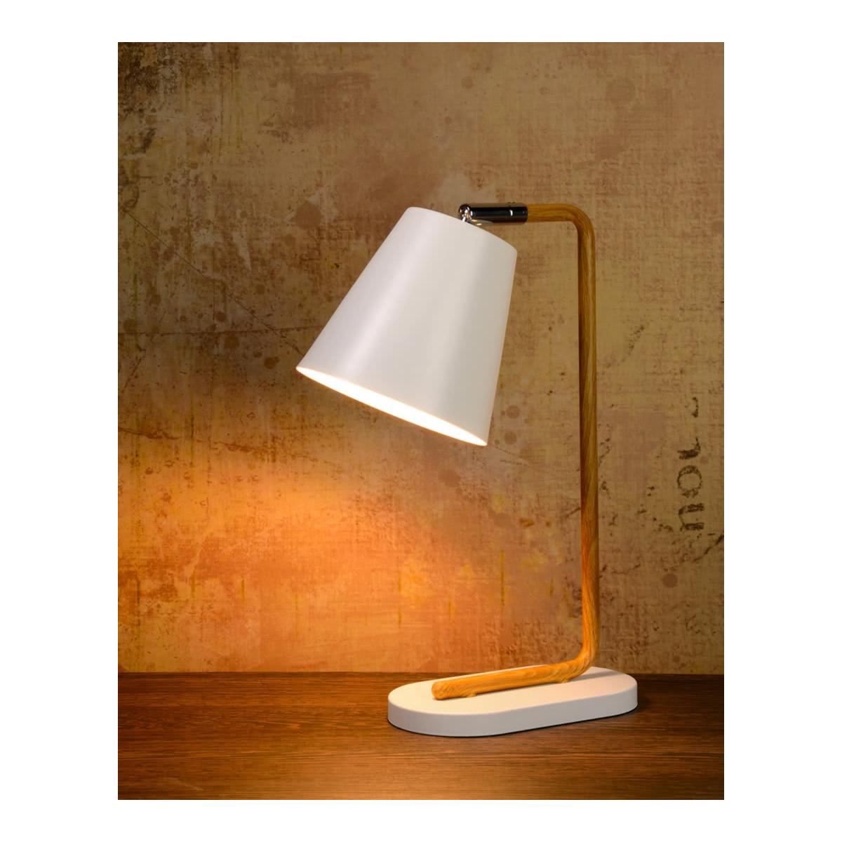 Lampe de table contemporaine en métal effet bois et blanc