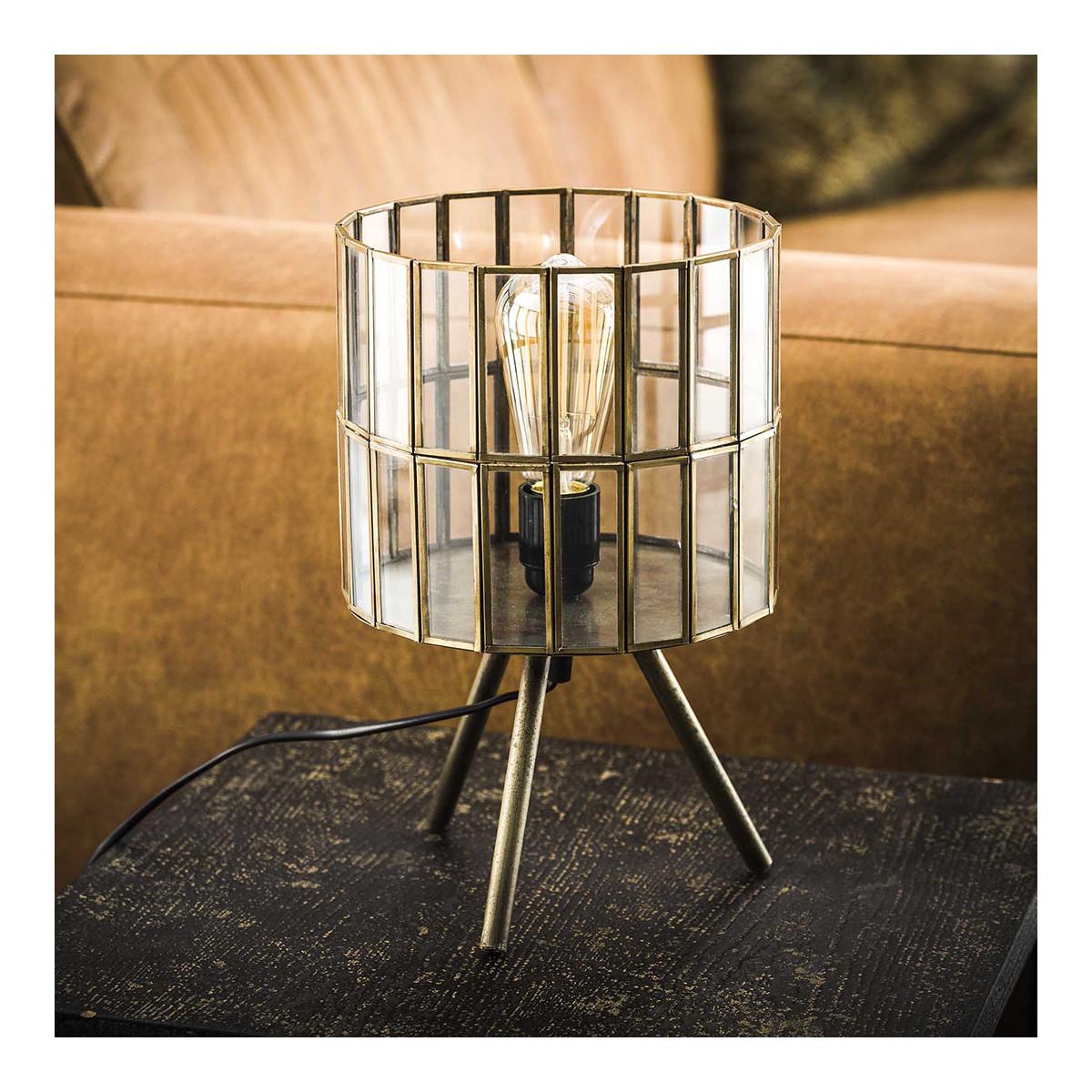 Lampe de table ronde vintage sur pieds en métal et verre D20