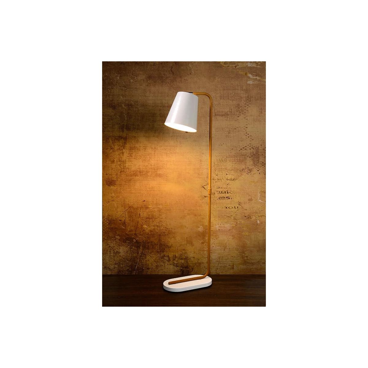 Lampadaire moderne droit en métal blanc