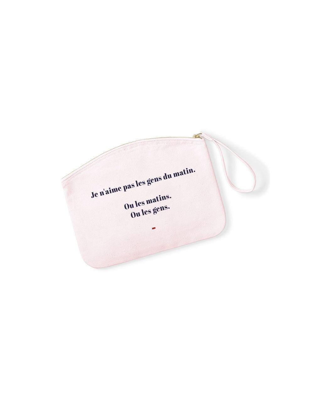JE N'AIME PAS LES GENS DU MATIN - Pochette Rose Pastel en coton