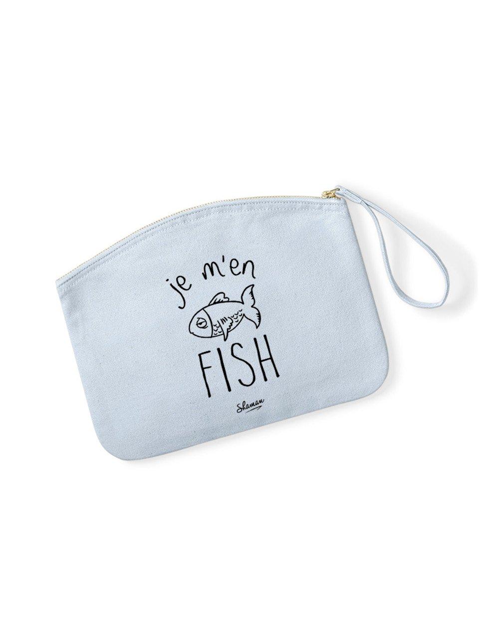 JE M'EN FISH - Pochette Bleu Pastel en coton