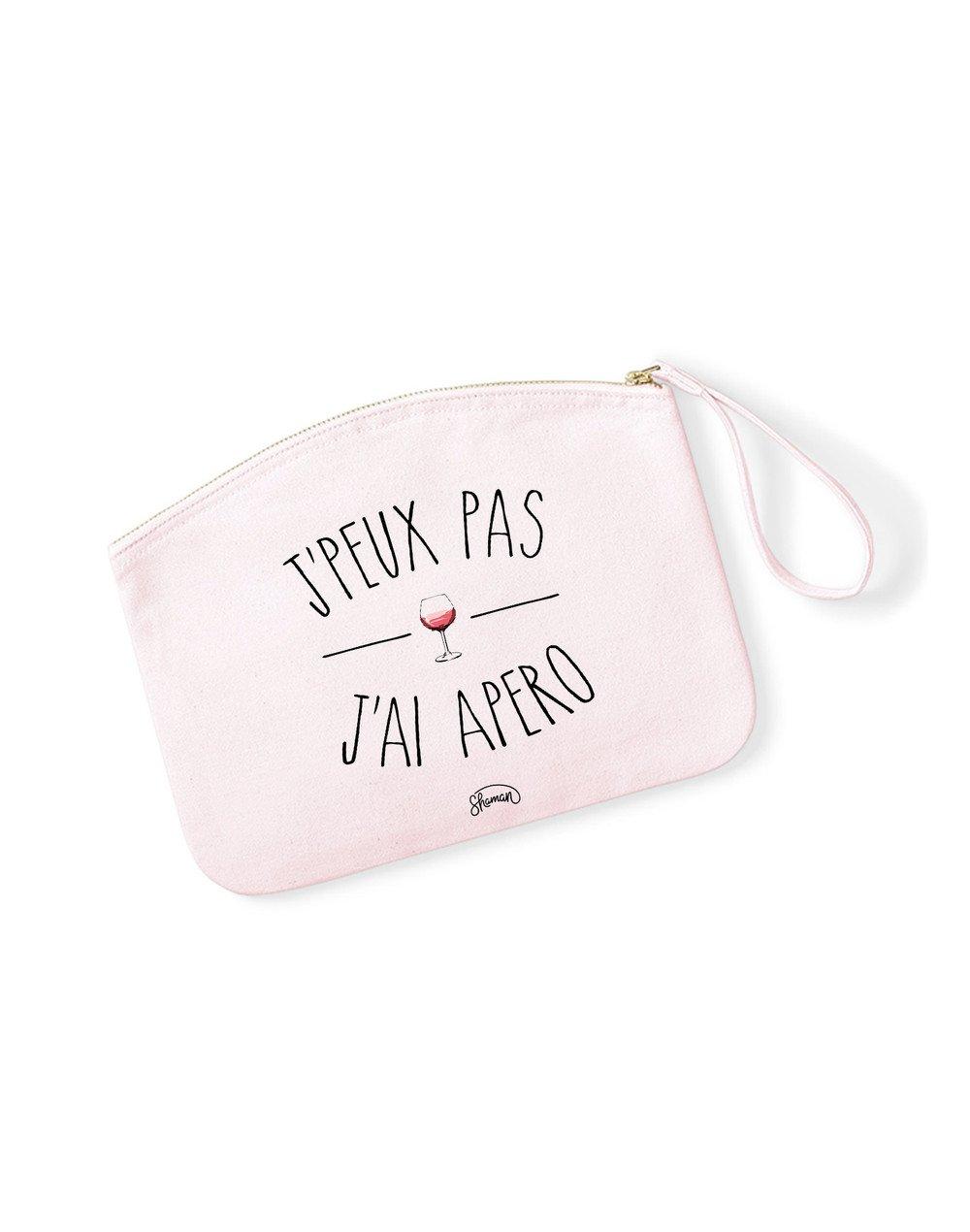 J'PEUX PAS J'AI APÉRO - Pochette Rose Pastel en coton
