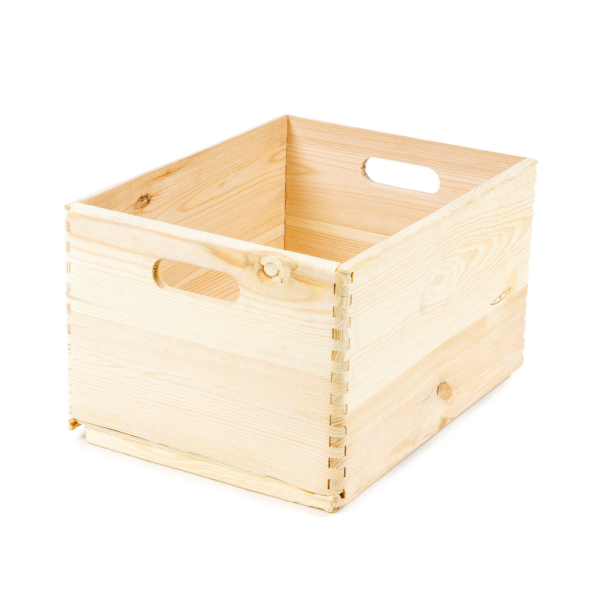 Boîte de rangement en bois naturel 2 poignées 40x30cm