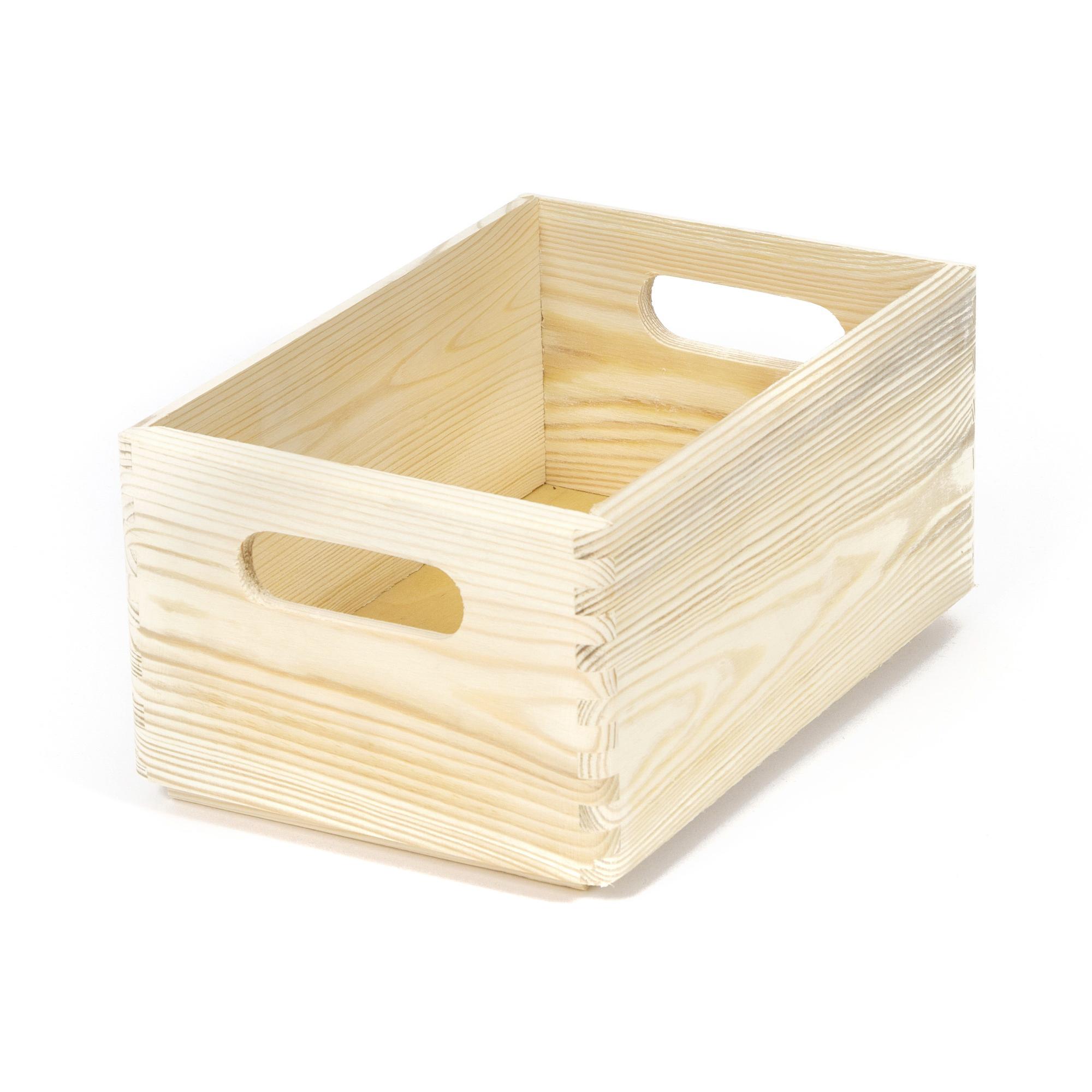 Boîte de rangement en bois naturel 2 poignées 30x20cm