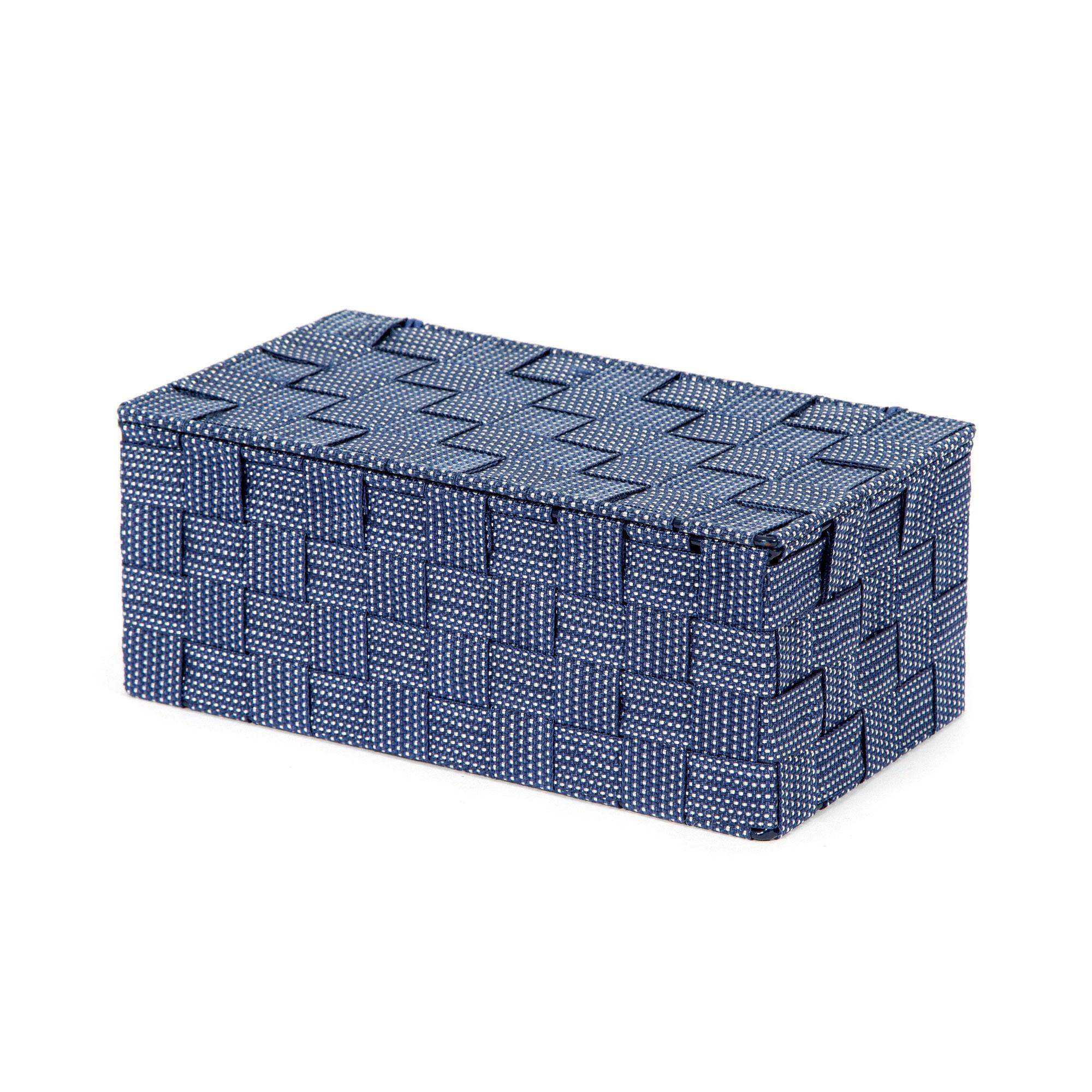 Boîte de rangement bleue en sangles tressées 27x15cm