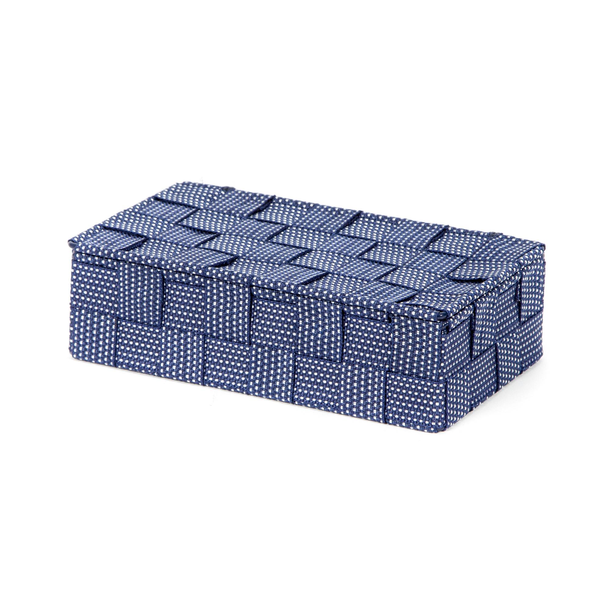 Boîte de rangement bleue en sangles tressées 21x12cm