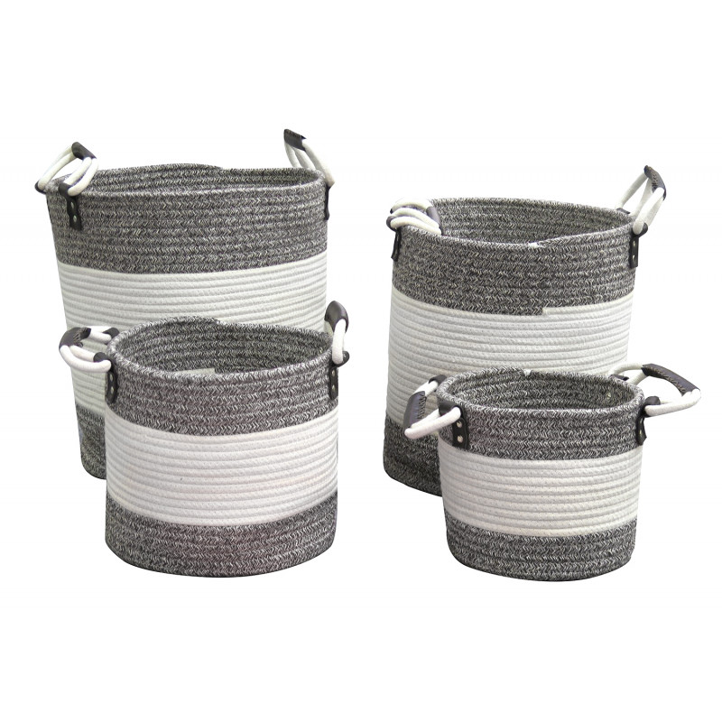 Lot de 4 paniers à linge rond en corde de coton gris et blanc