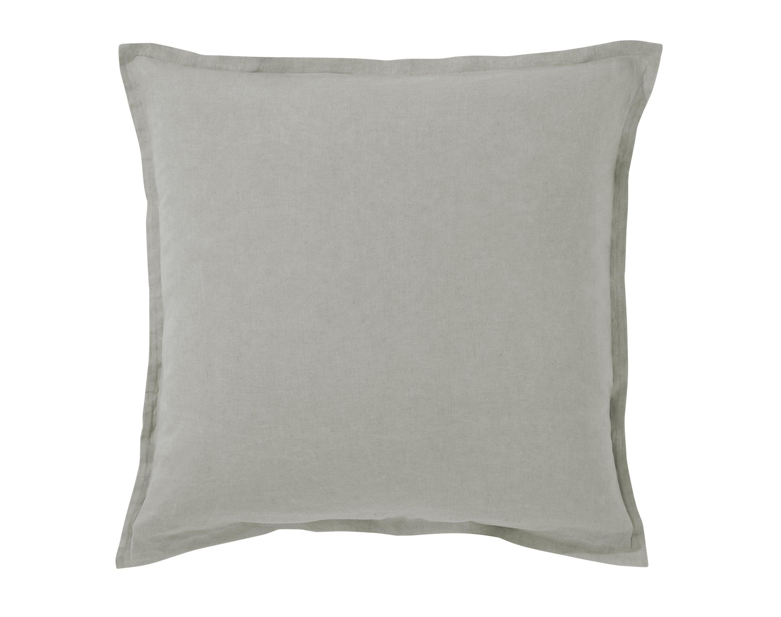 Taie d'oreiller 50x70 en lin lavé gris carbone
