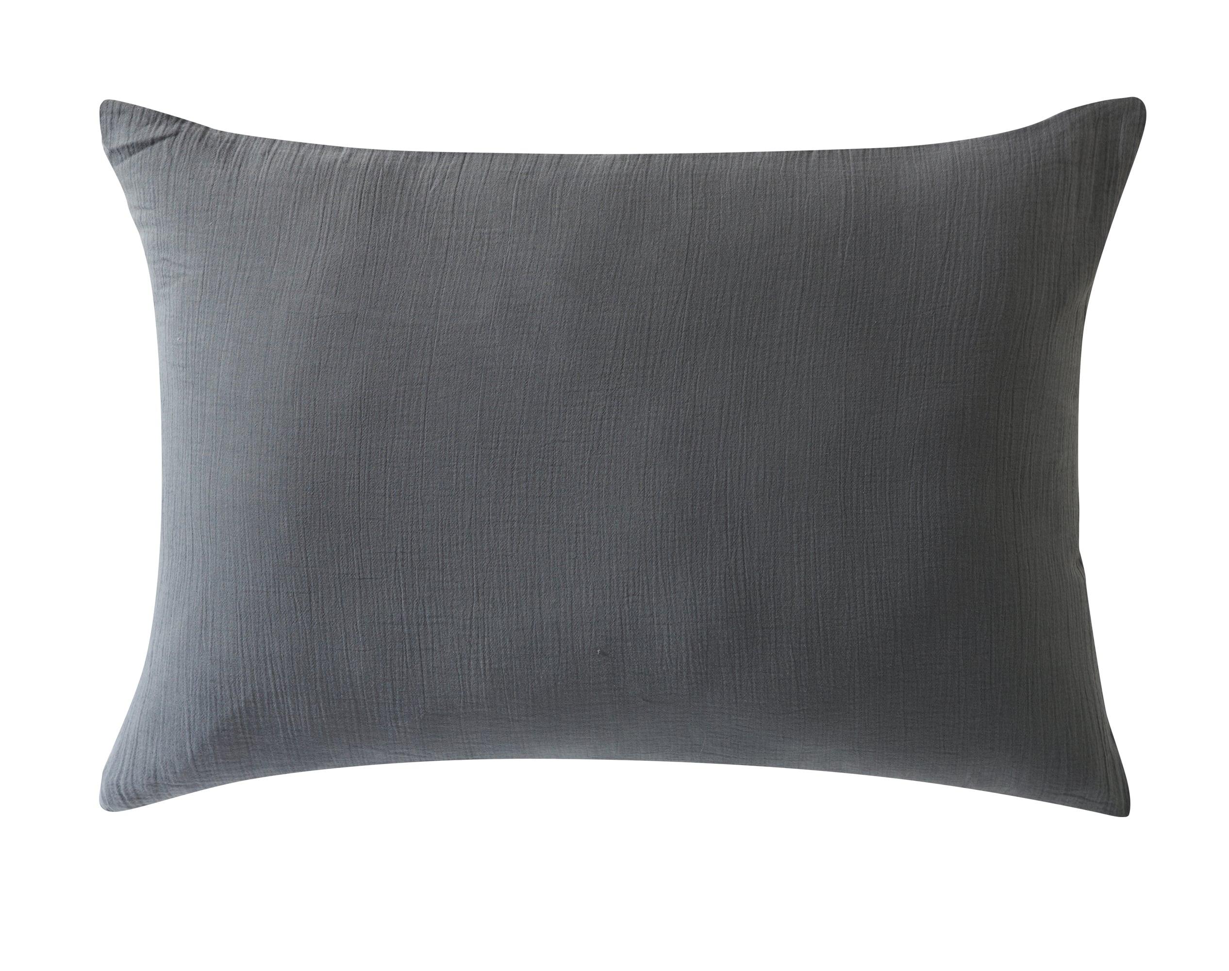 Taie d'oreiller 50x70 en gaze de coton gris anthracite