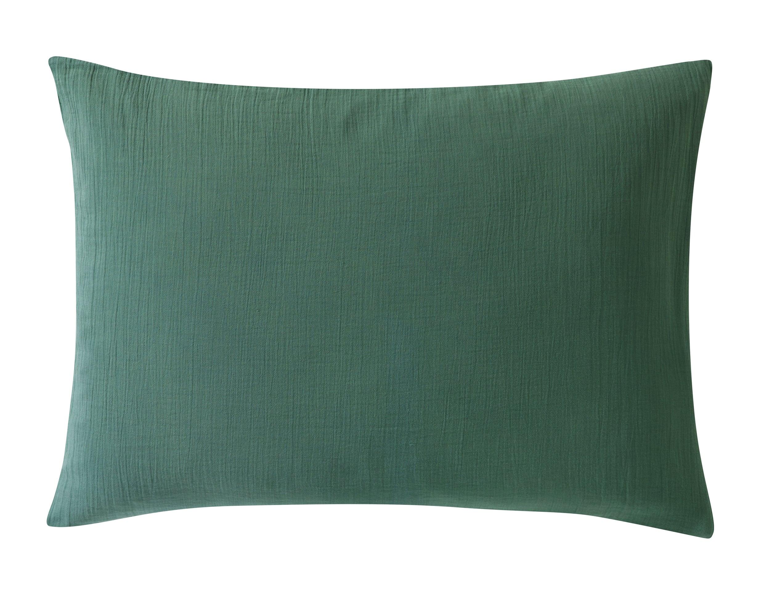 Taie d'oreiller 50x70 en gaze de coton vert céladon