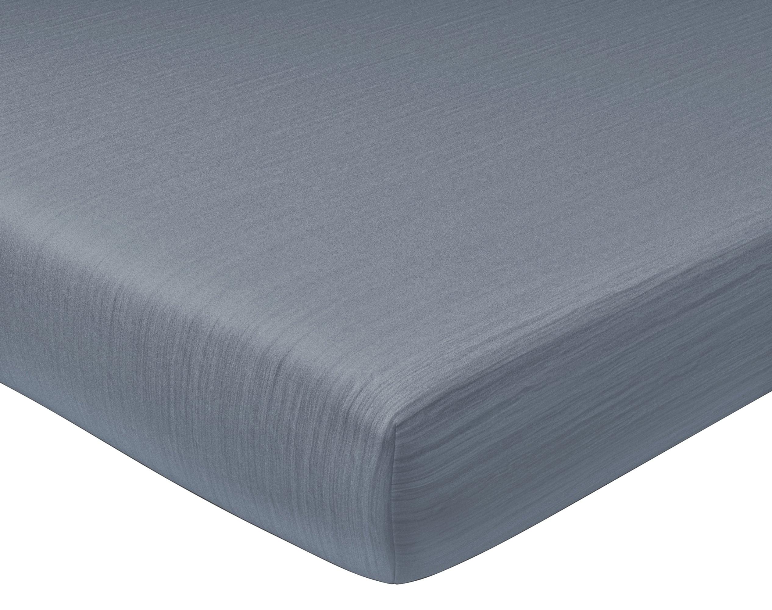 Drap-housse 140x190 en gaze de coton gris anthracite