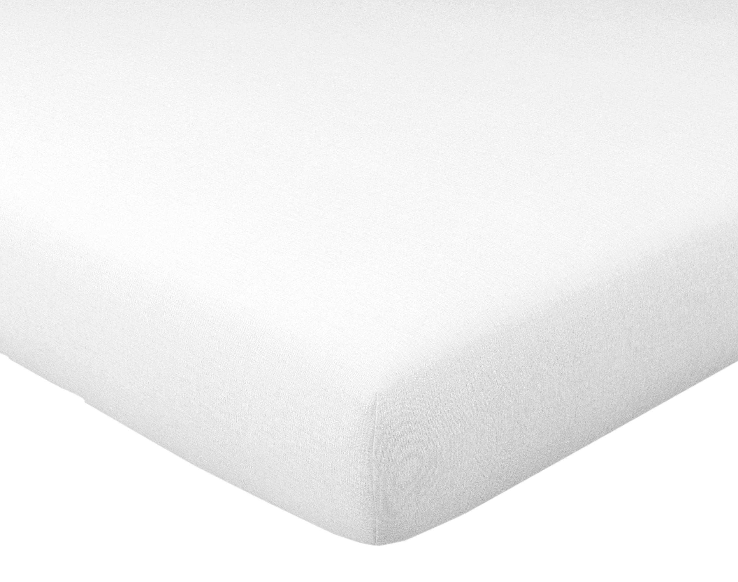 Drap-housse 160x200 en lin lavé blanc