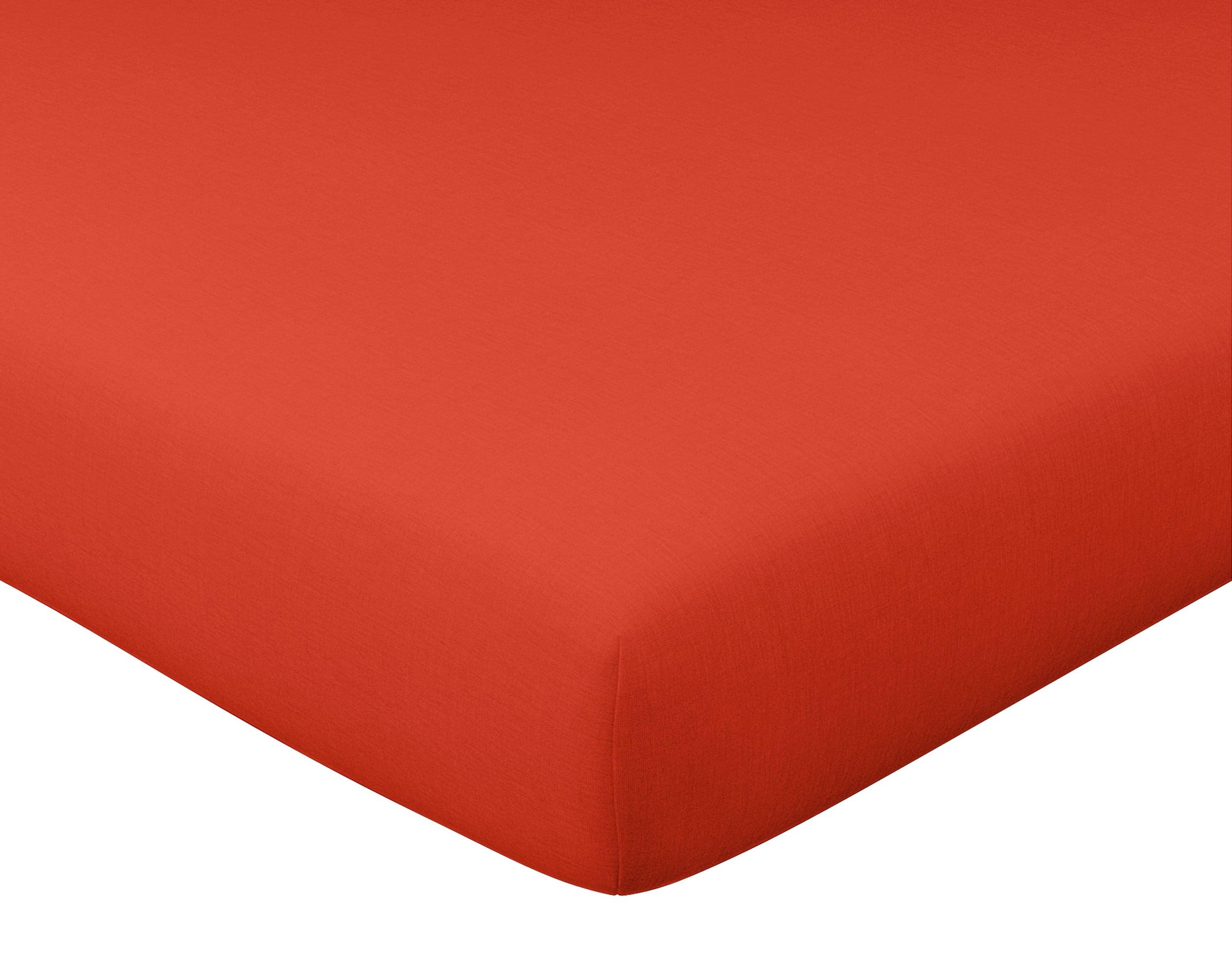 Drap-housse 180x200 en lin lavé rouge brique