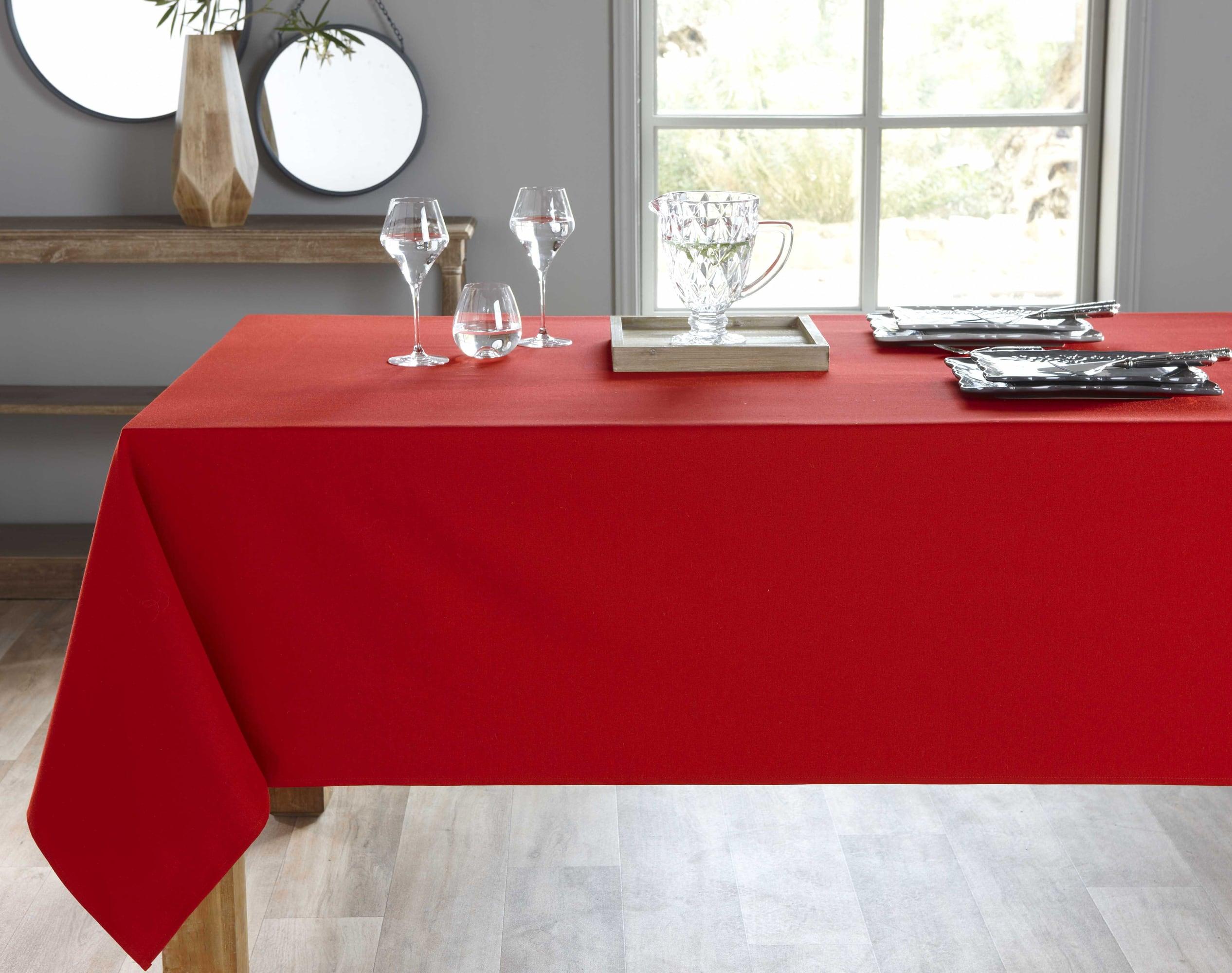 Nappe ronde rouge en coton 235x235