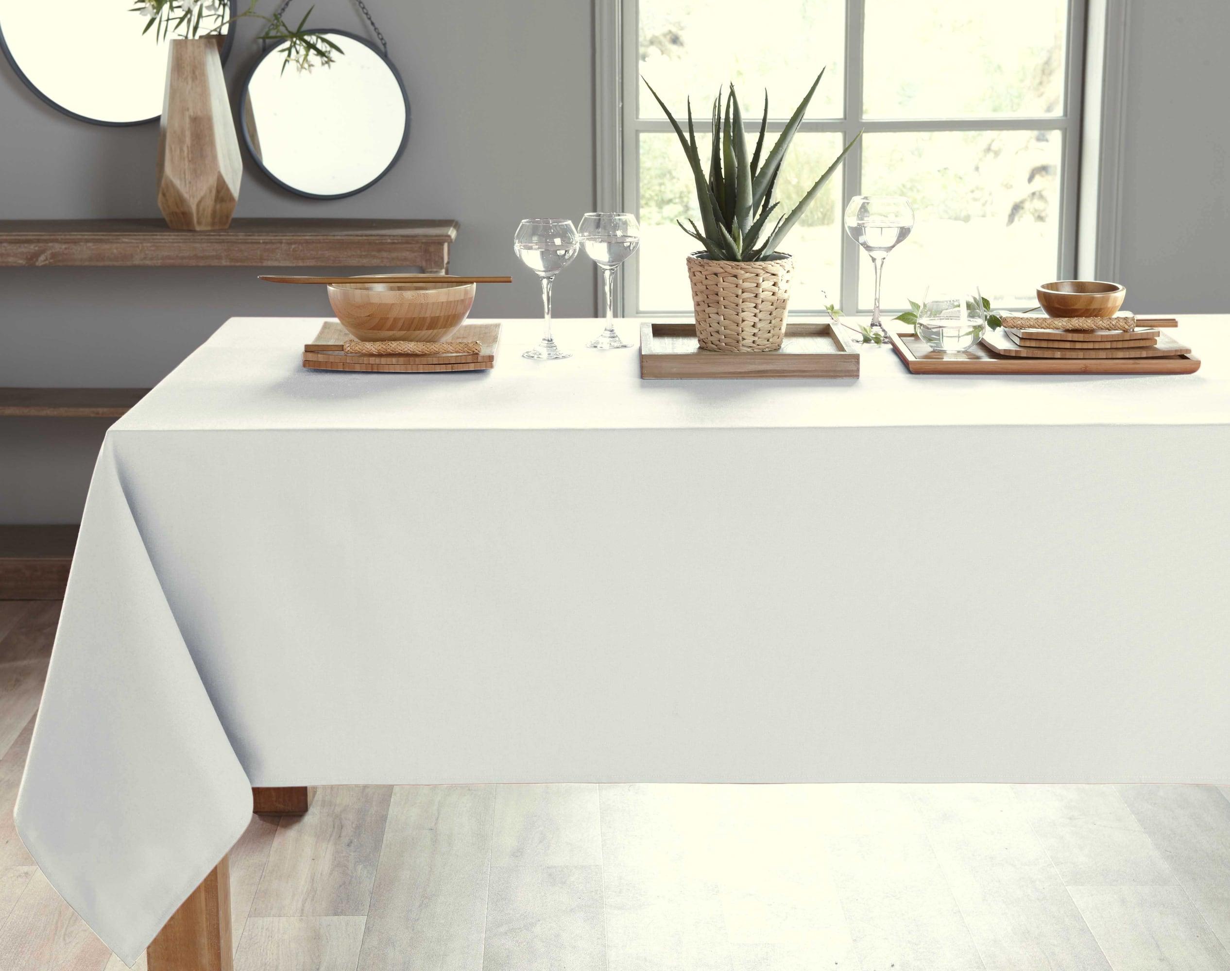 Nappe rectangulaire blanc en coton 150x300
