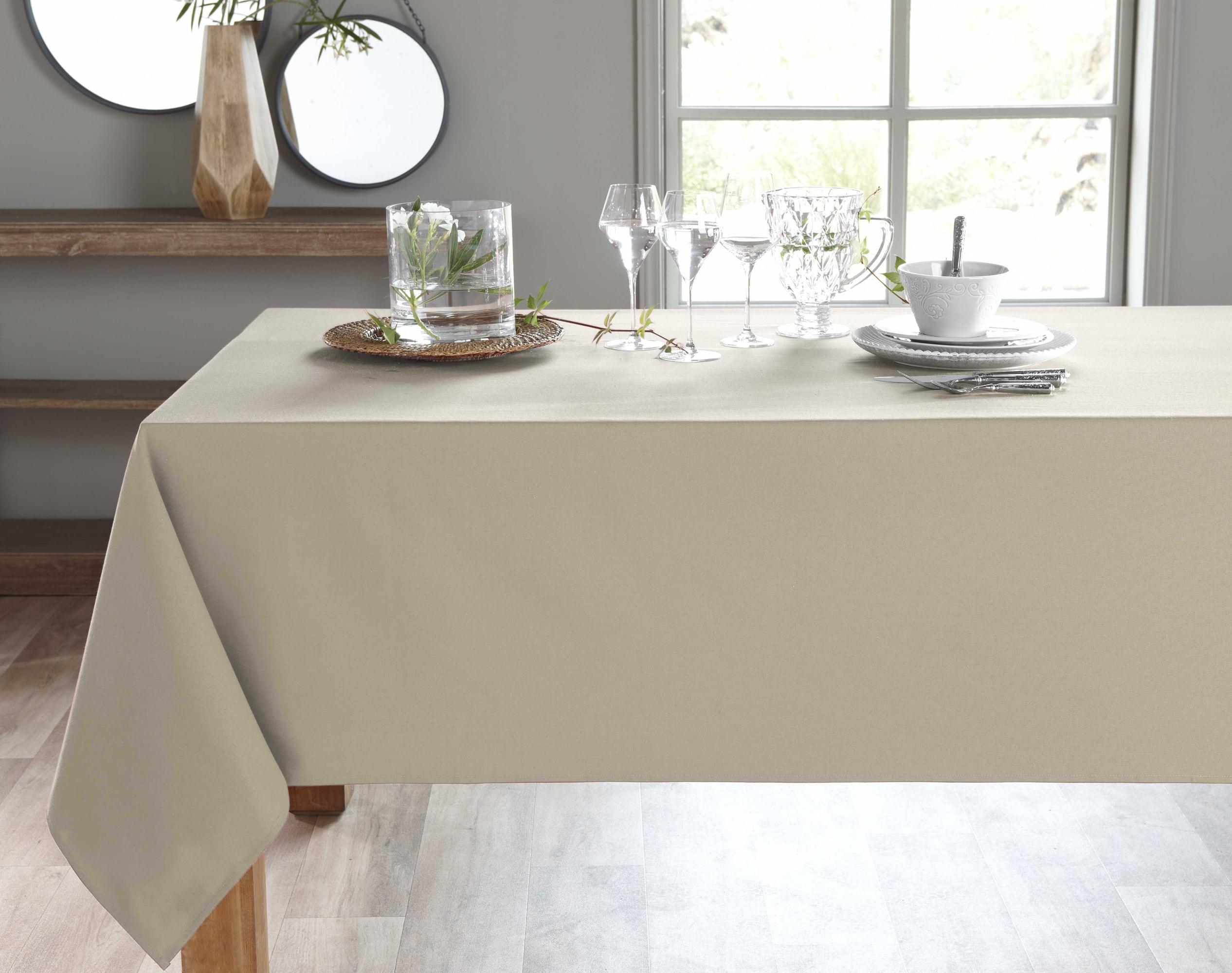 Nappe rectangulaire beige en coton 150x200