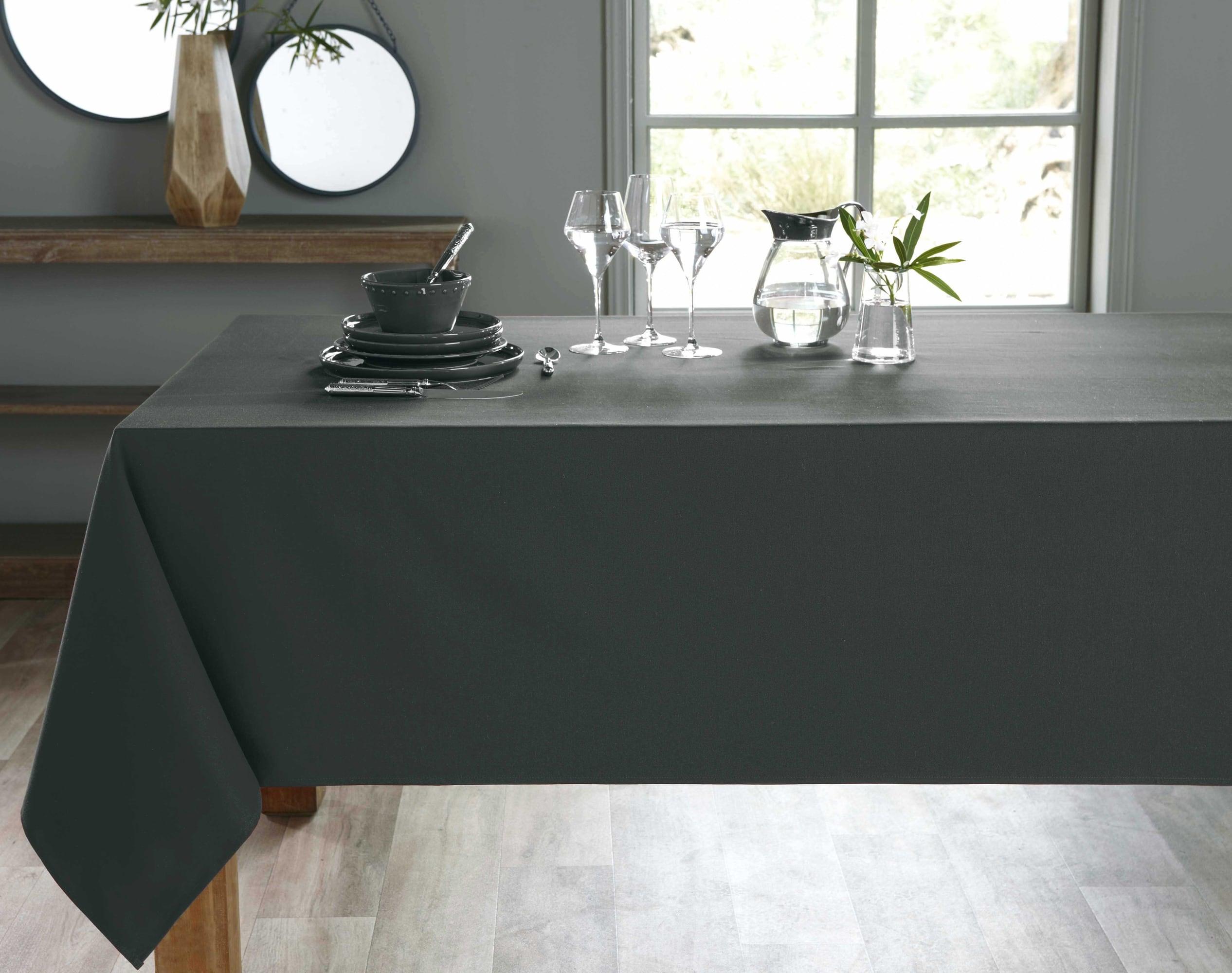 Nappe rectangulaire gris anthracite en coton 150x300
