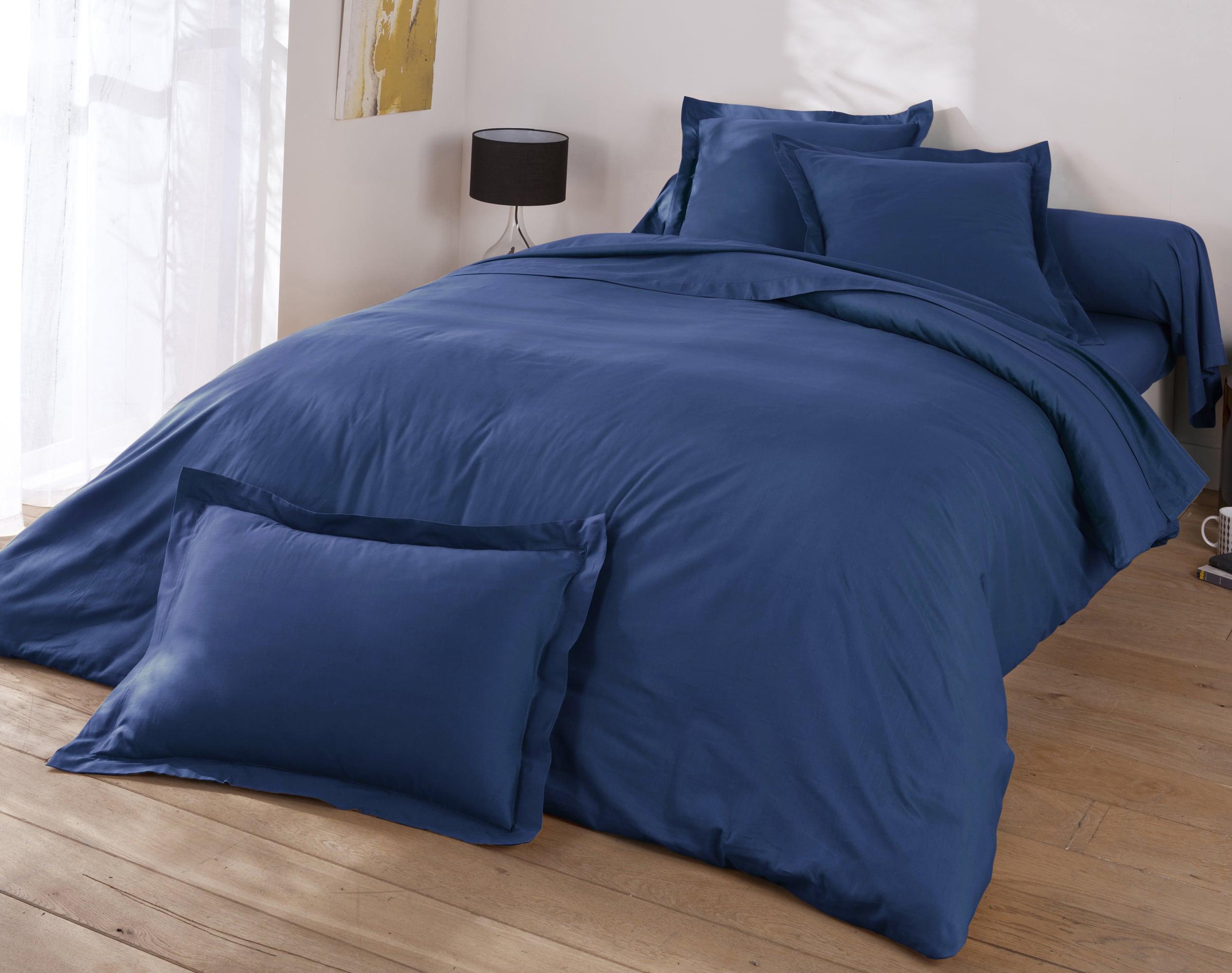 Housse de couette 140x200 en coton bleu marine