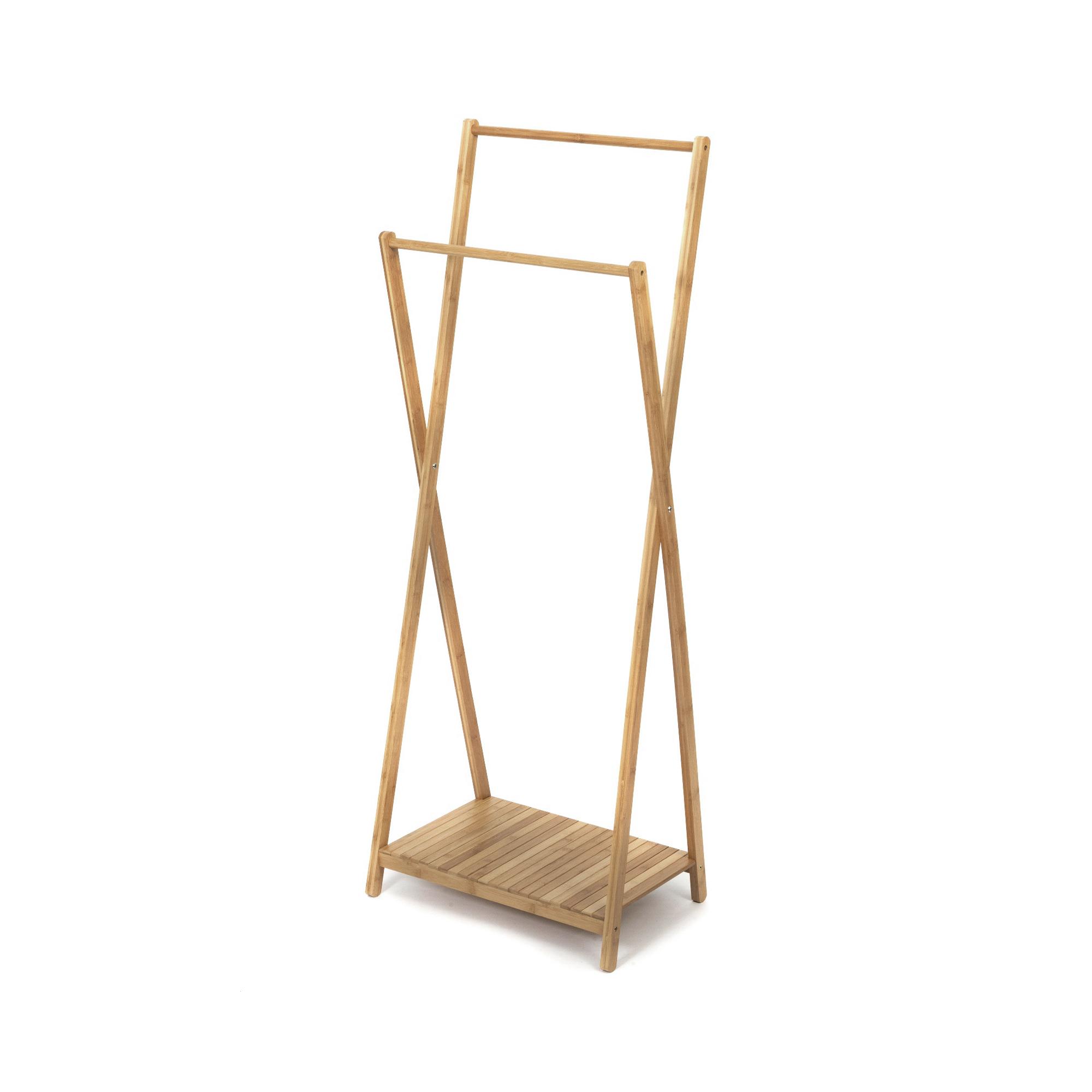 Portant en bambou naturel 2 barres H162cm