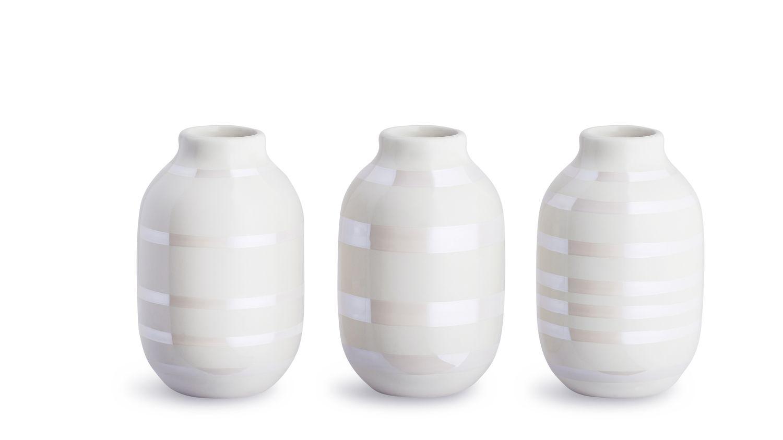 Set de 3 vases en miniature nacre H8cm