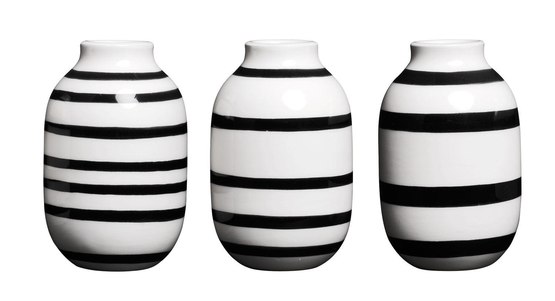 Set de 3 vases en miniature noir H8cm