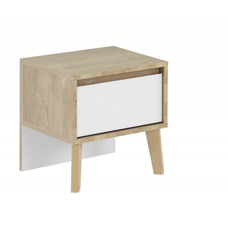 Table de chevet décor chêne et blanc