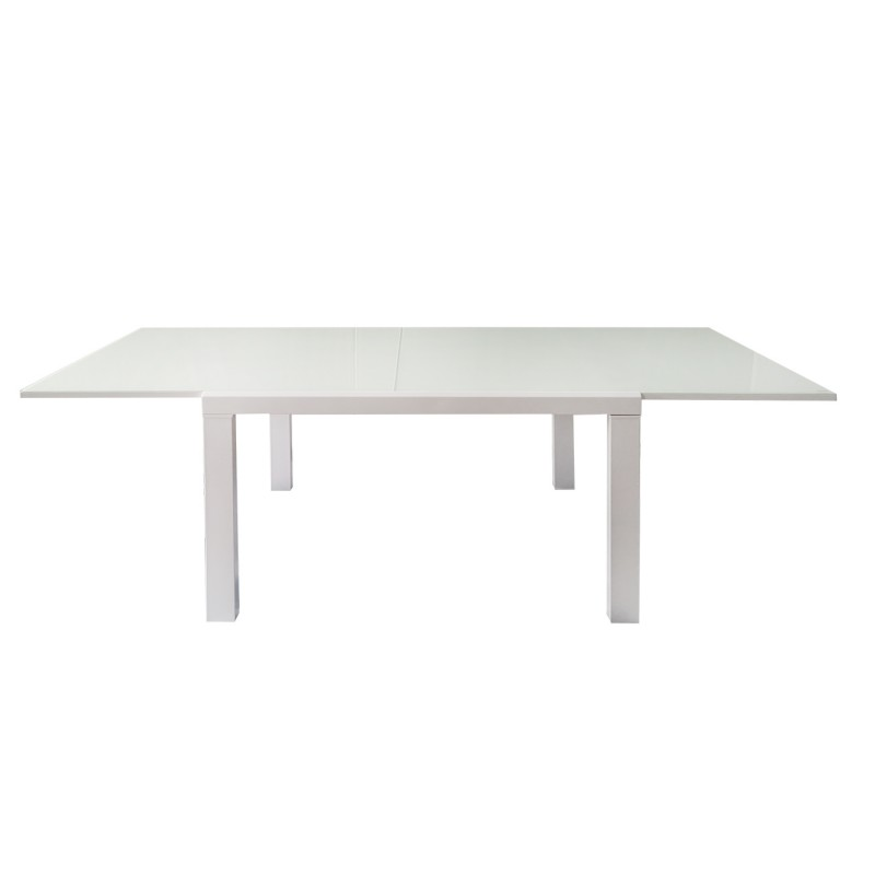 Table extensible 120 à 230 cm plateau verre blanc
