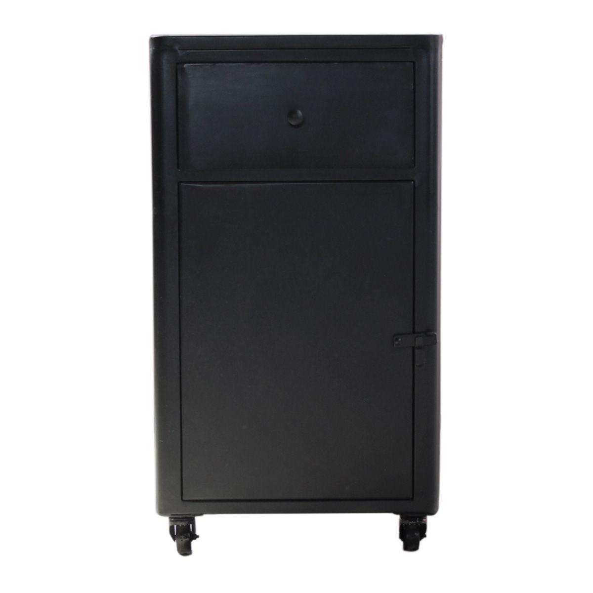 Petit buffet en métal 1 porte 1 tiroir noir (photo)