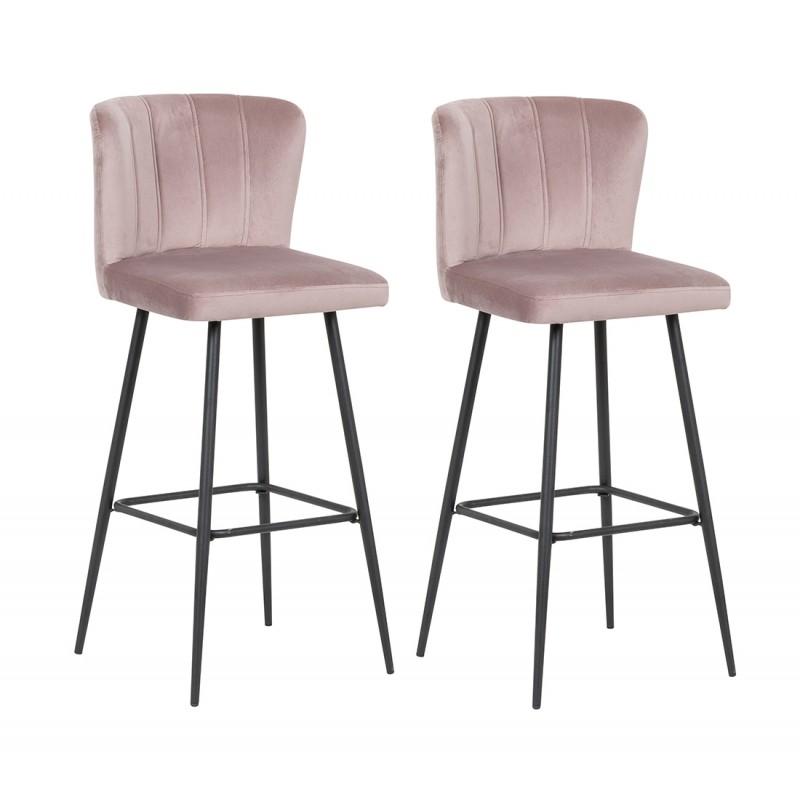 Lot de 2 chaises de bar velours rose et pieds métal noir