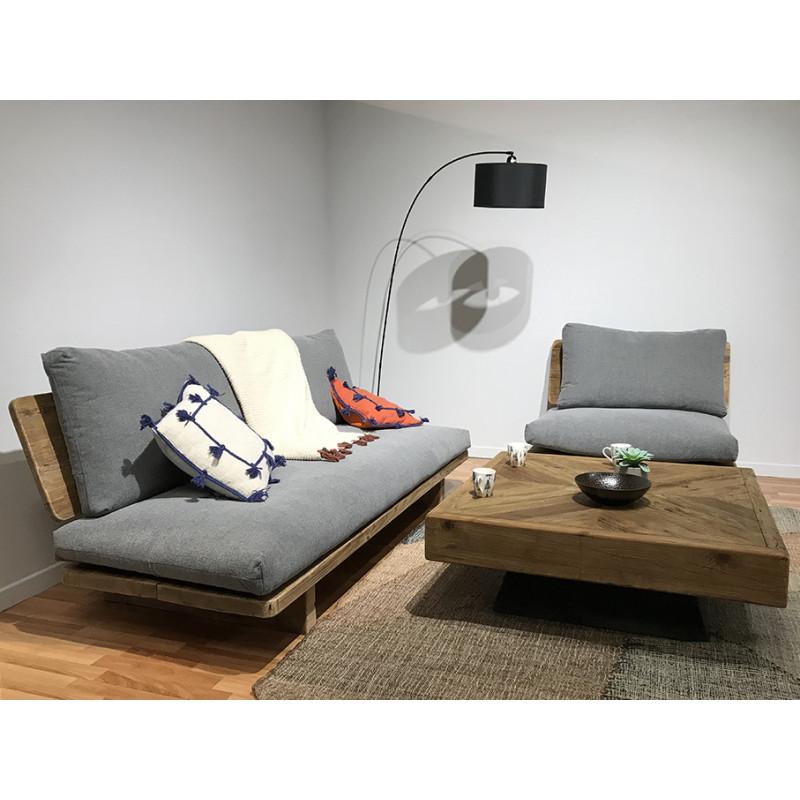 Table basse carré en bois longueur 100 cm