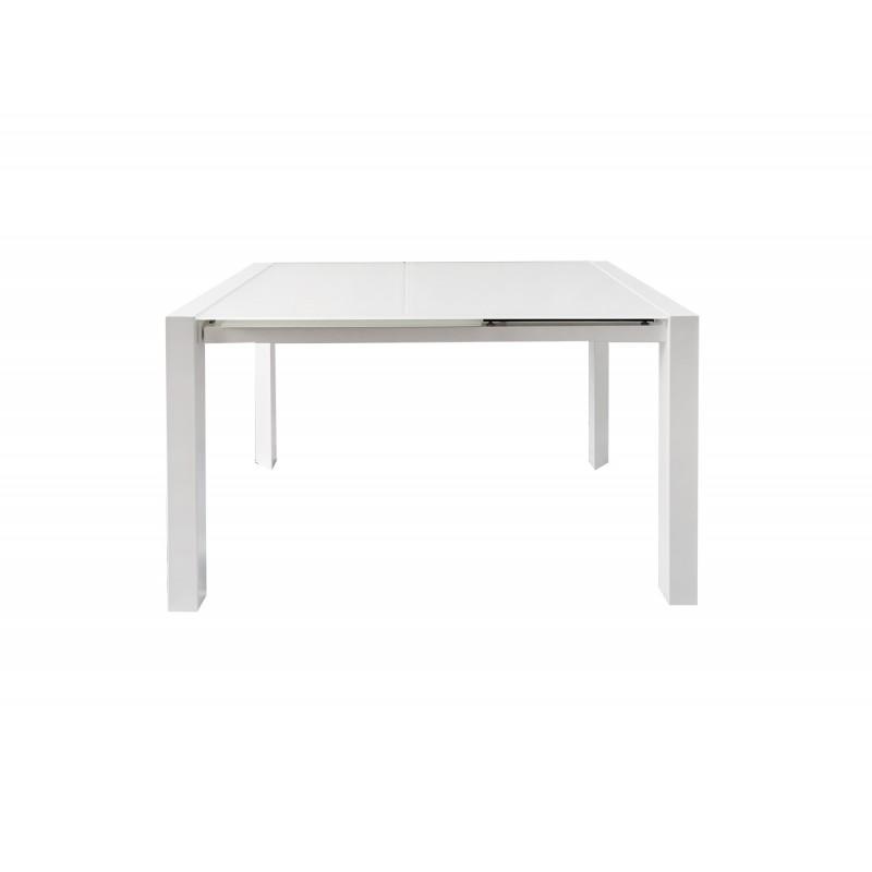 Table extensible 120 à 180 cm plateau verre blanc