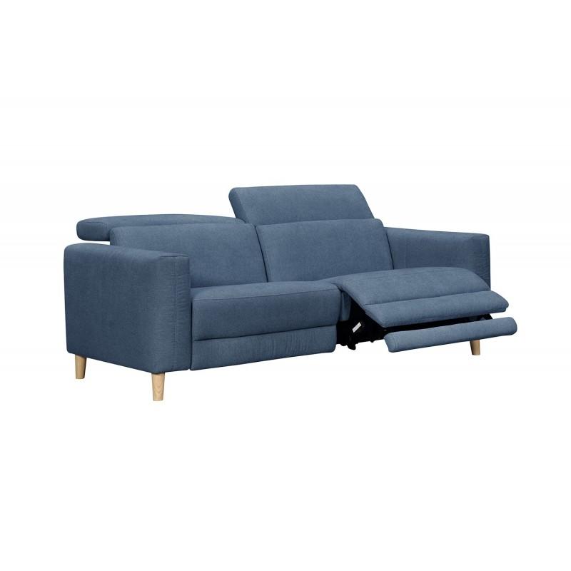 Canapé droit 5 places Bleu Tissu Design Confort