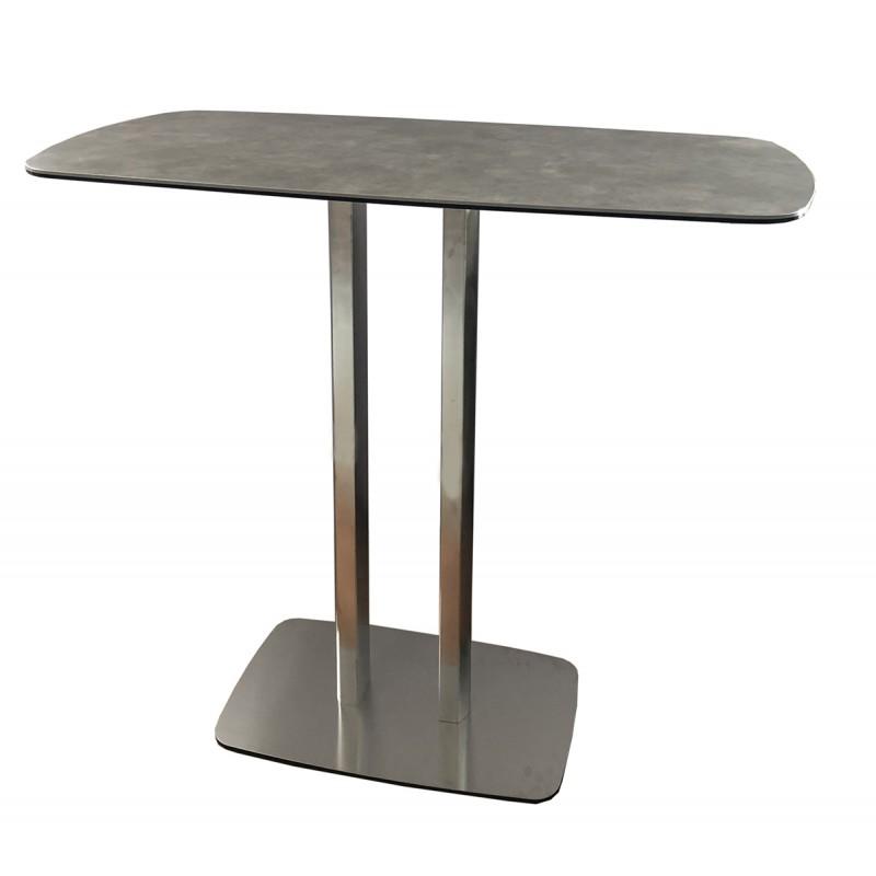 Table haute rectangulaire 120 cm plateau céramique