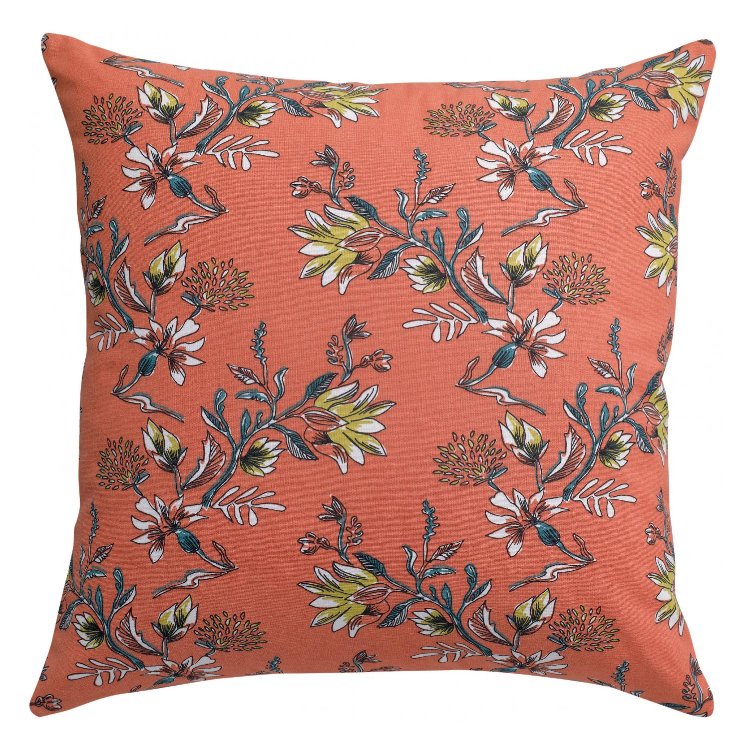 Coussin  en coton corail 60 x 60 (photo)
