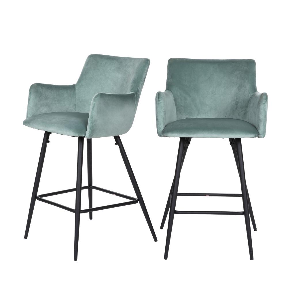 2 chaises de bar en métal et velours vert d'eau