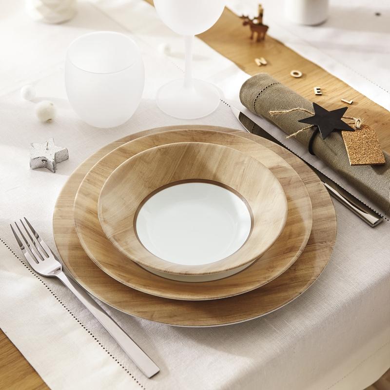 Assiette creuse marron effet bois D23cm