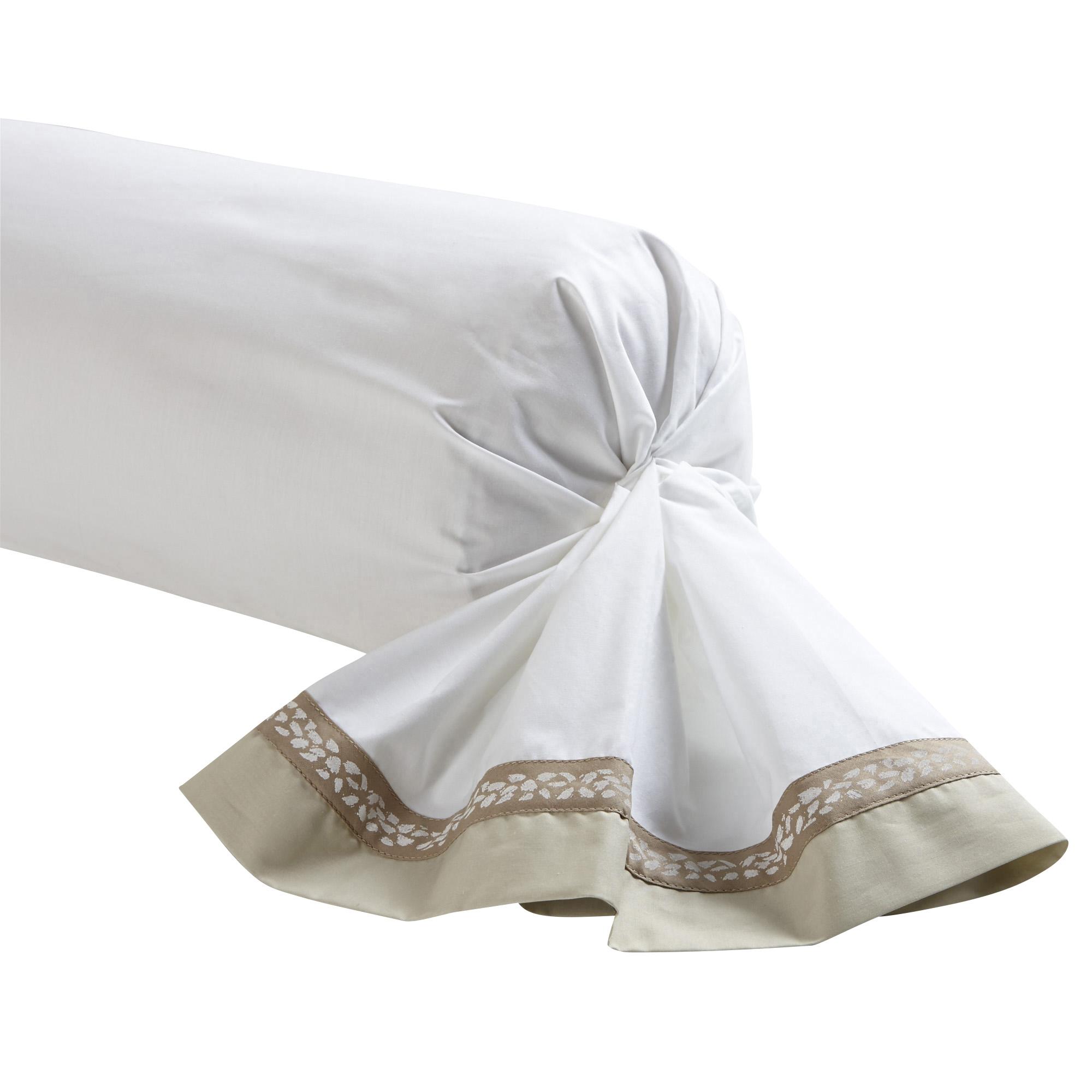 Taie de traversin bicolore en percale de coton beige 43x190
