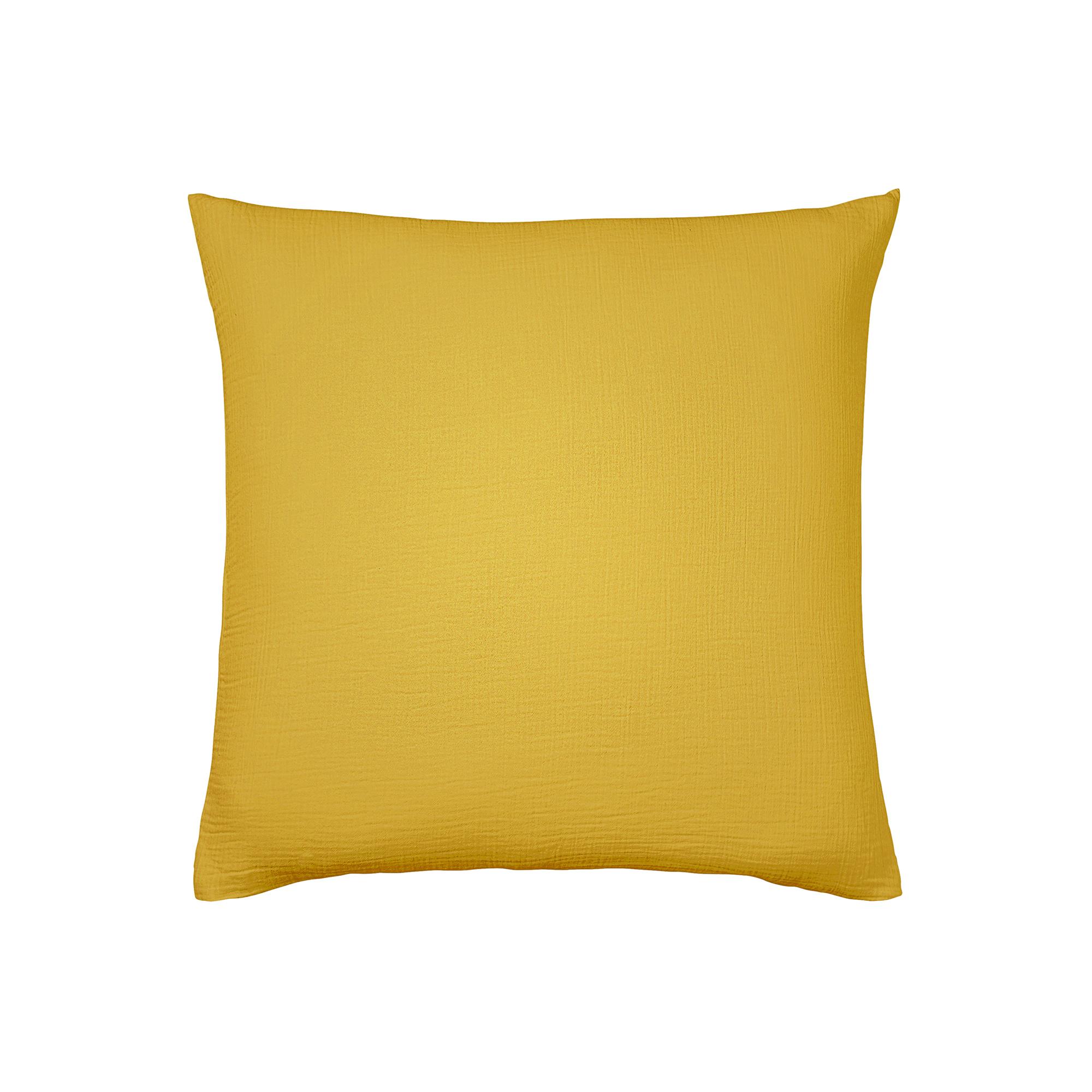 Taie d'oreiller unie en coton jaune 65x65