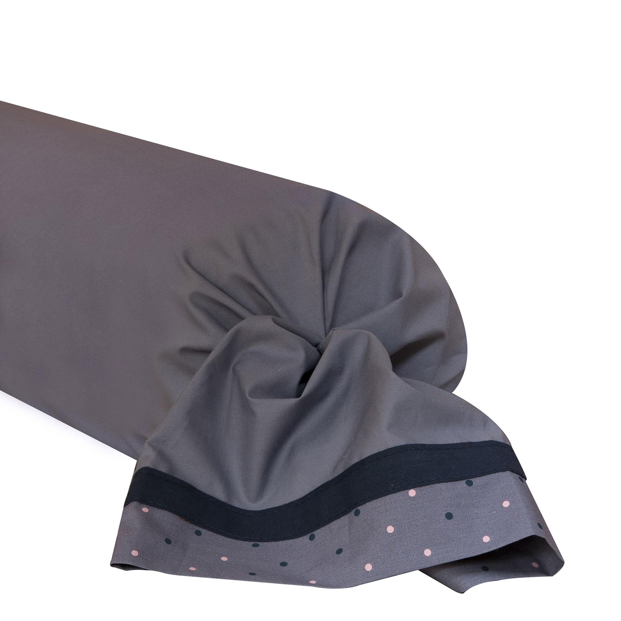 Taie de traversin bicolore en percale de coton gris 43x190