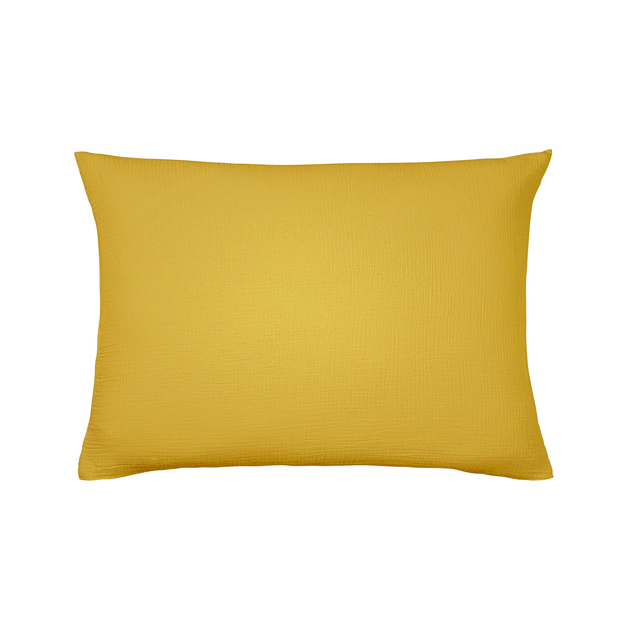 Taie d'oreiller unie en coton jaune 50x75