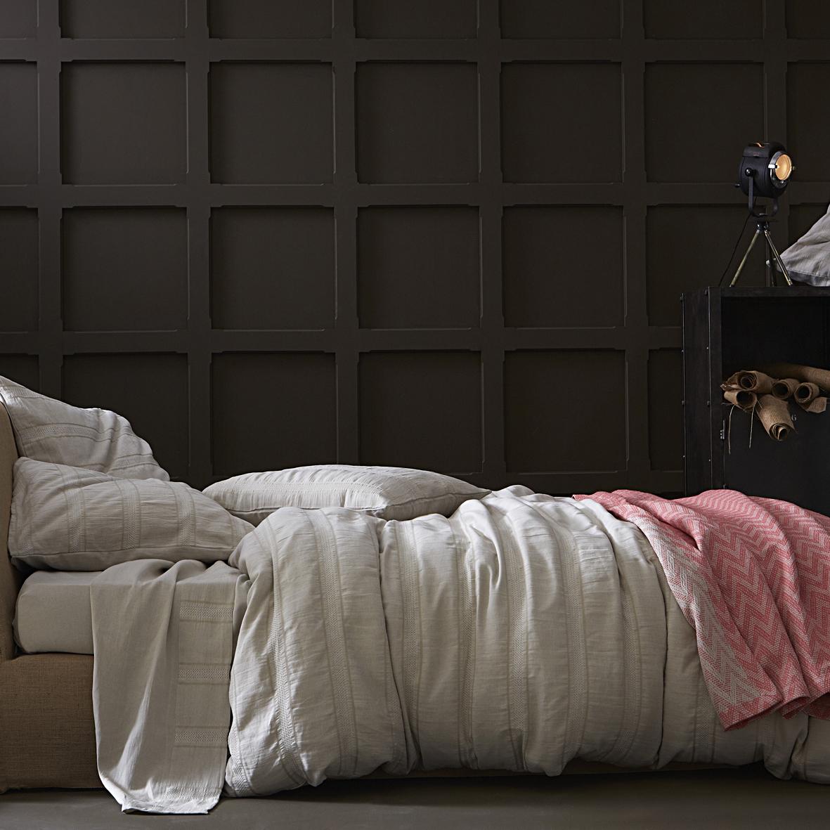 Couvre-lit en lin et coton rouge 260x240