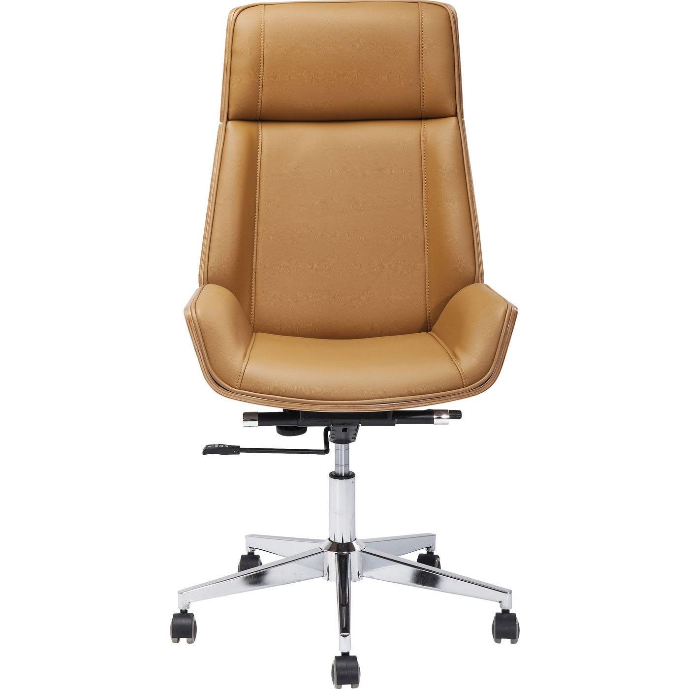 Chaise de bureau pivotante réglable à roulettes marron