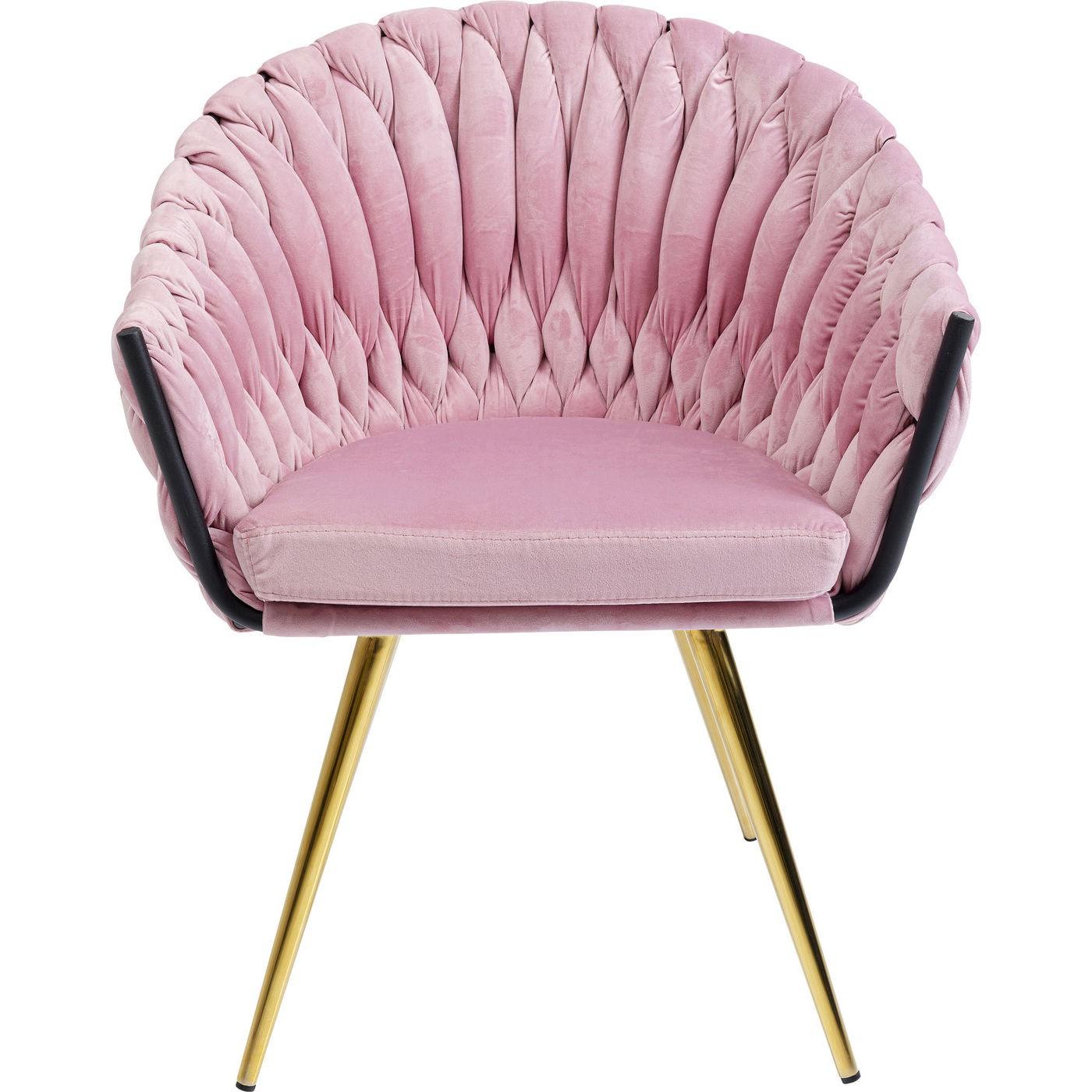 maison du monde Chaise avec accoudoirs en velours rose et acier doré