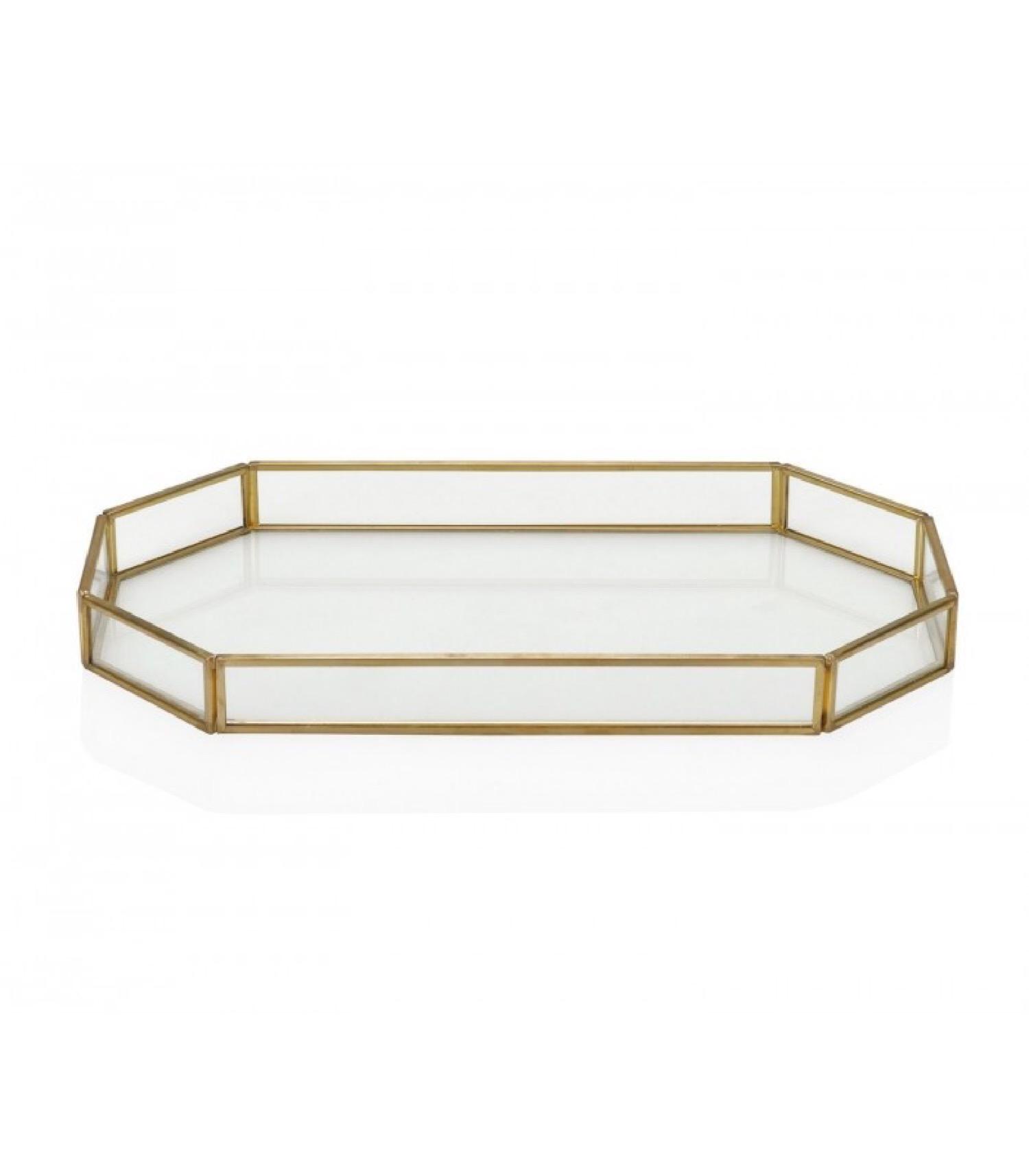 Plateau décoratif en laiton doré et verre 27x16cm