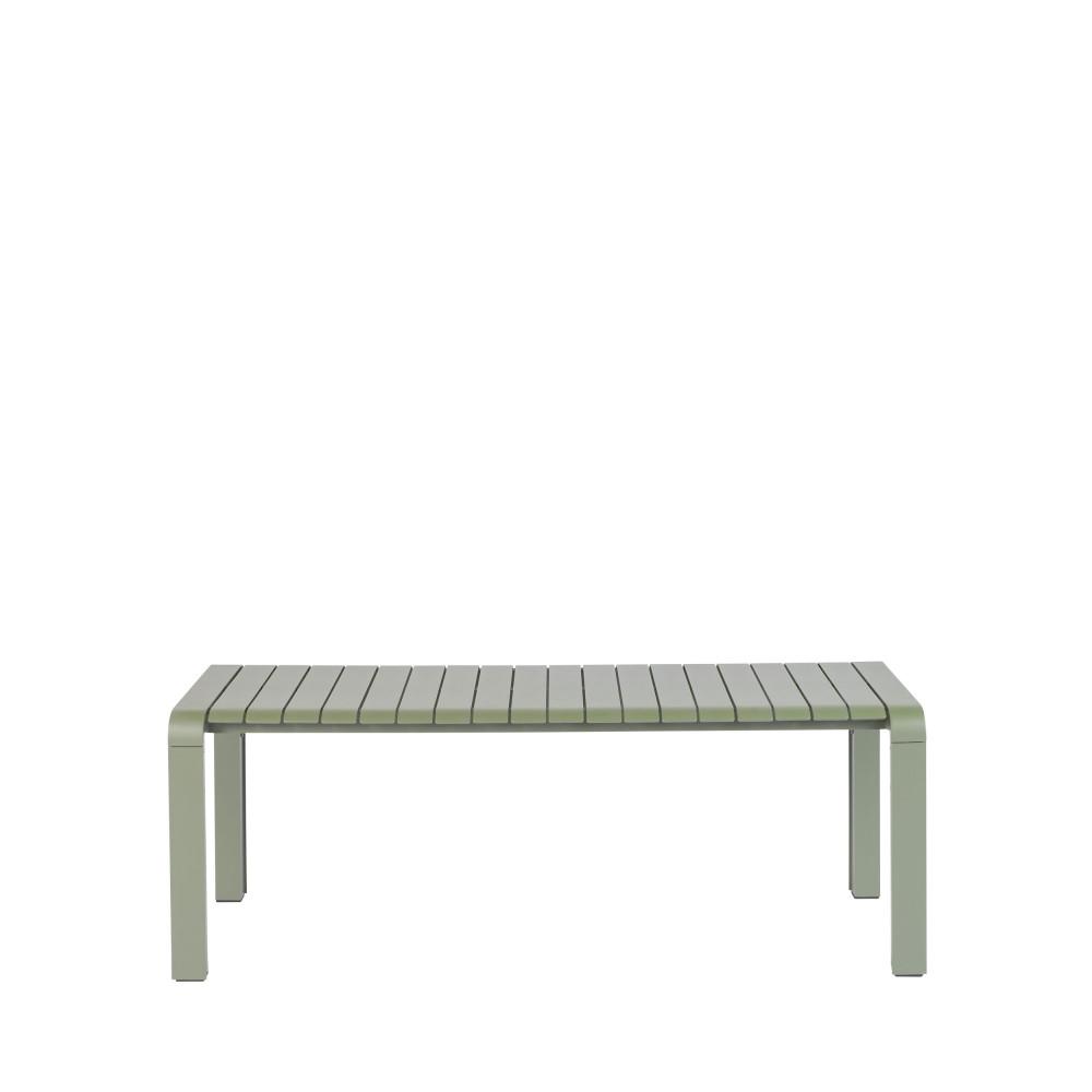 Banc de jardin en métal 129,5x45cm vert de gris